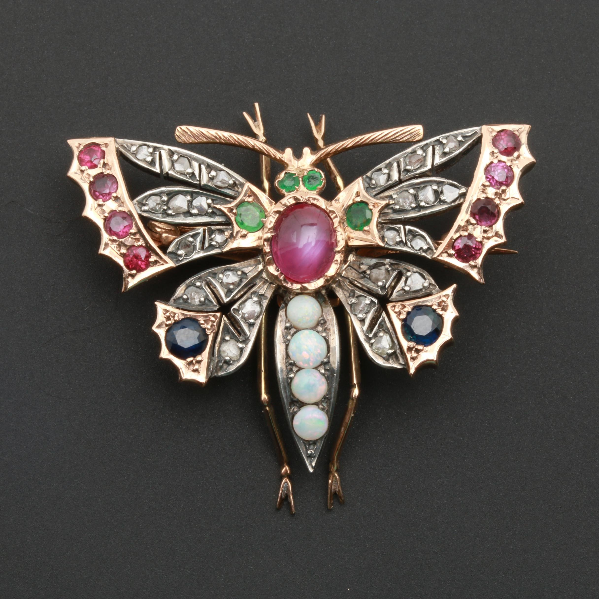 Late Victorian 14K Yellow Gold Ruby, Opal, Emerald, and Diamond Butterfly Brooch