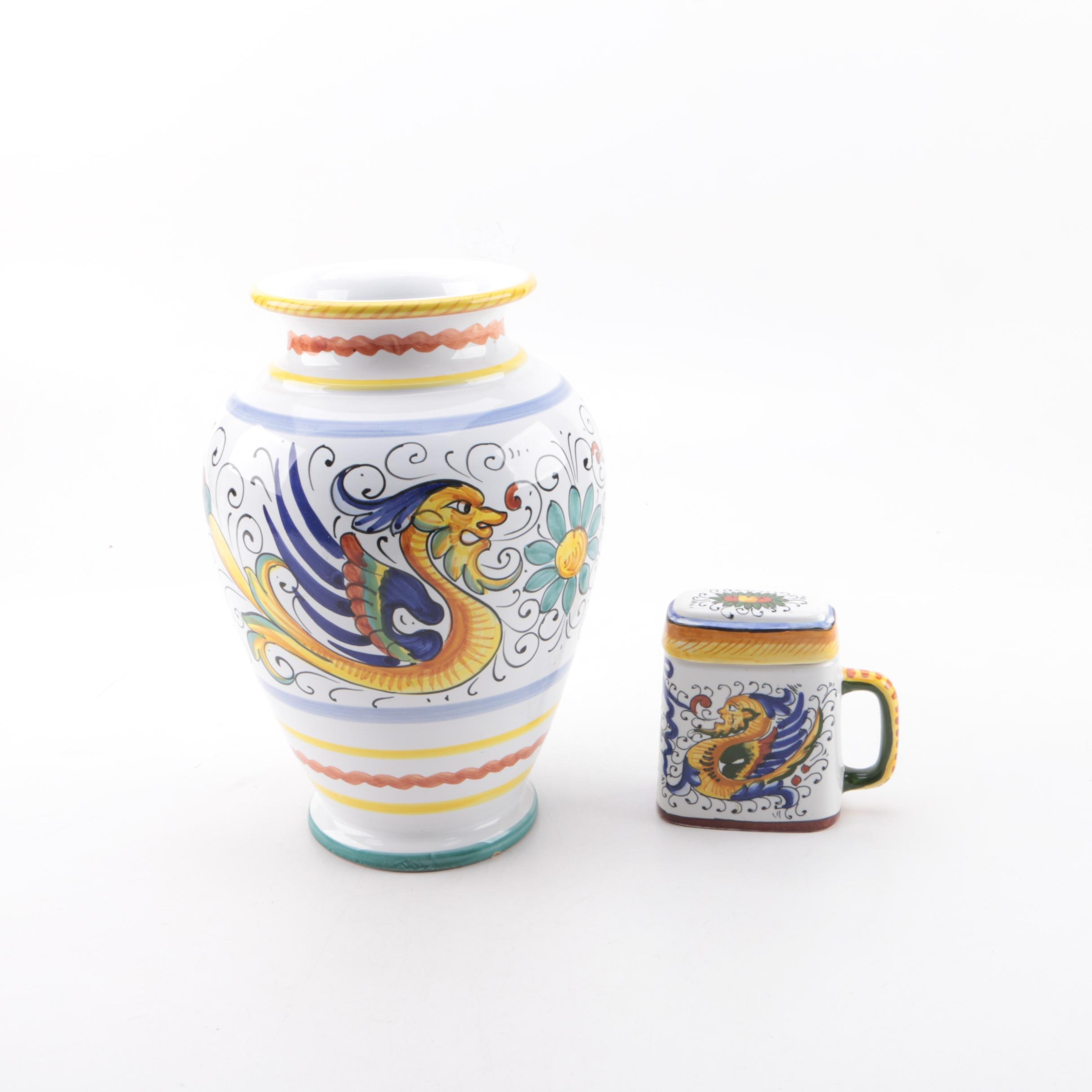 "Italian Deruta ""Raffellesco""  Hand-Painted Ceramic Vase and Pitcher"