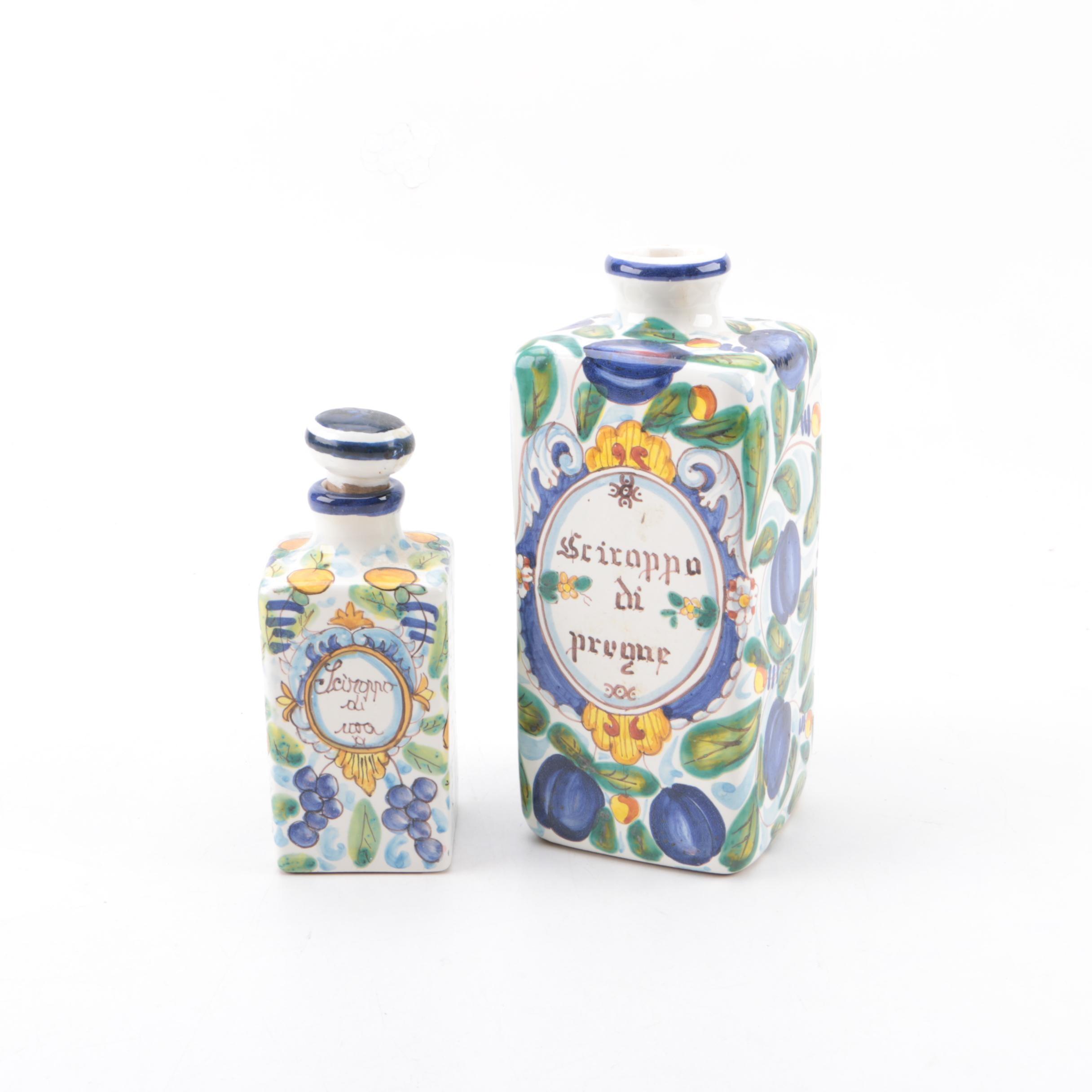 IMA Ceramiche Artische Italian Maiolica Bottles