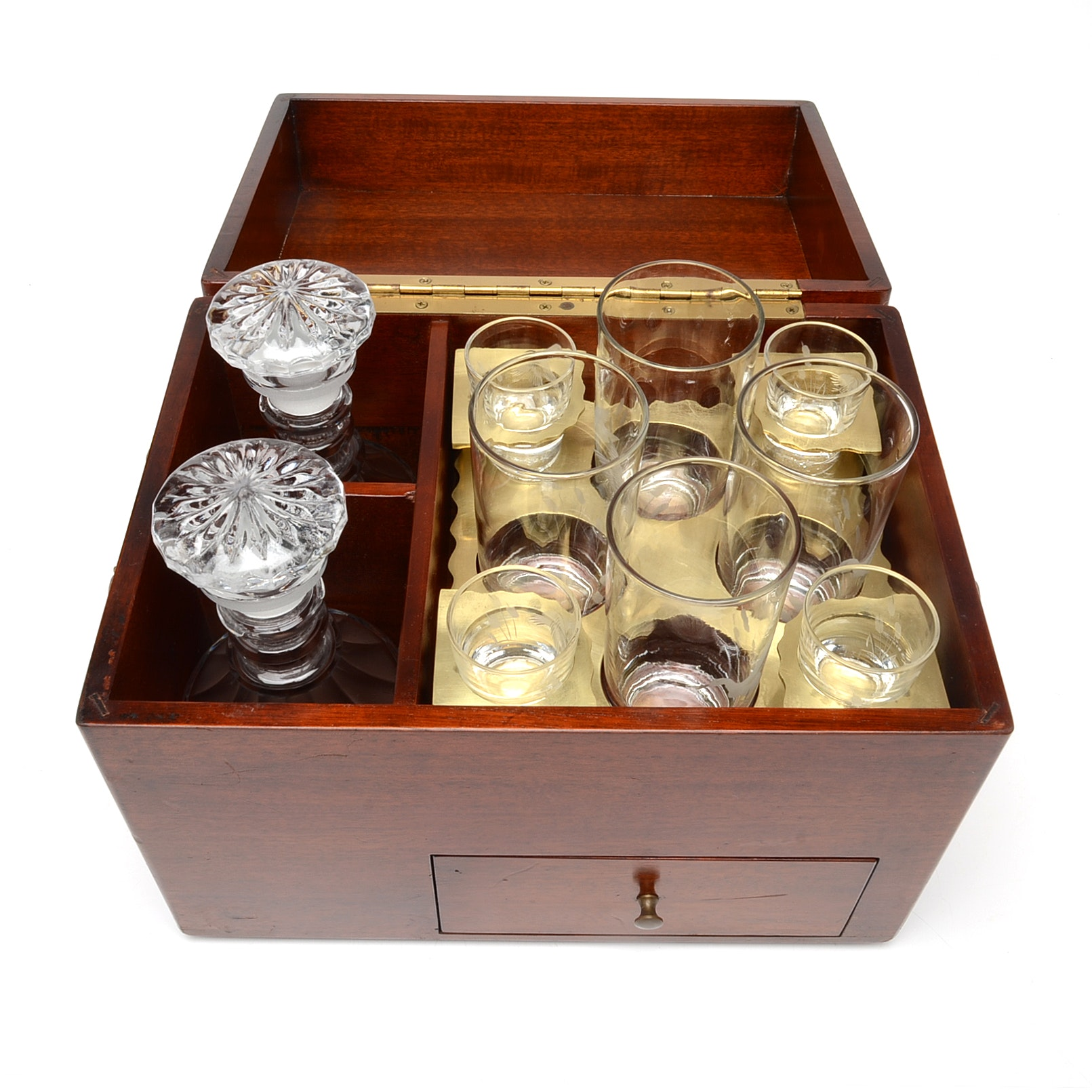 Mahogany Liquor Chest with Decanters and Barware by Federal Glass