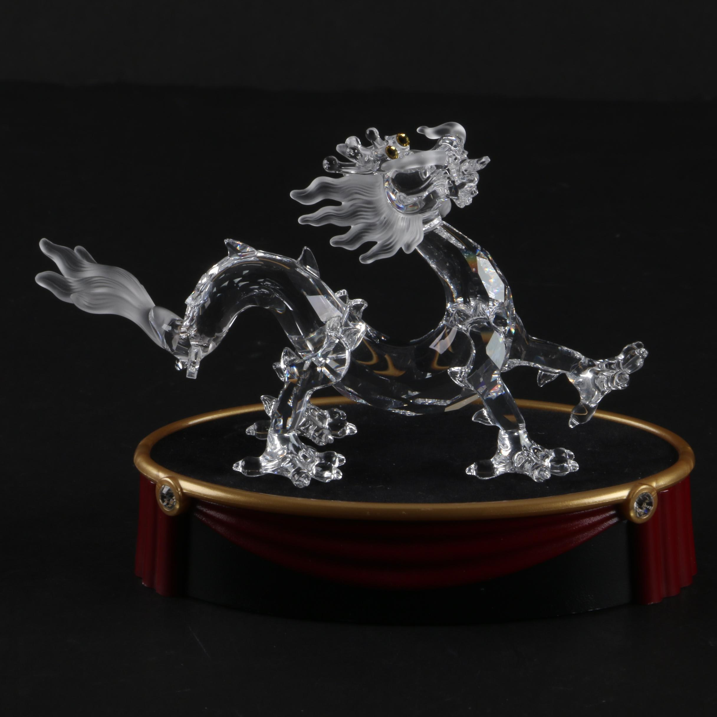 Swarovski Crystal Chinese Dragon Figurine with Stand