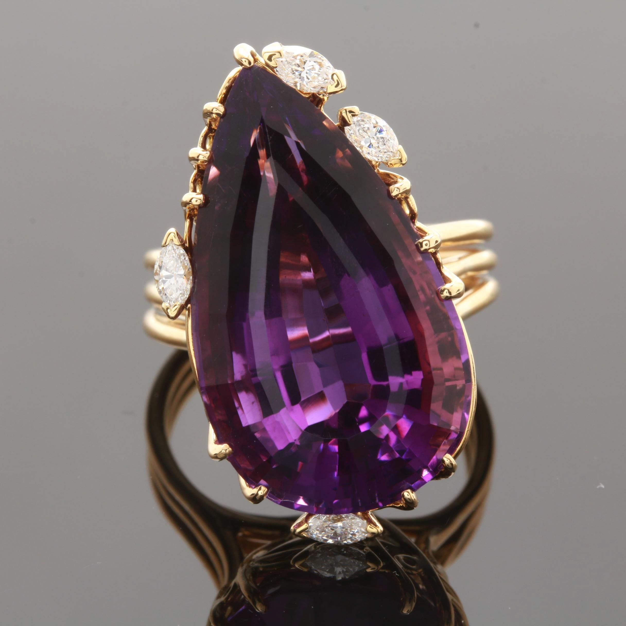 18K Yellow Gold 18.38 CT Amethyst and Diamond Ring