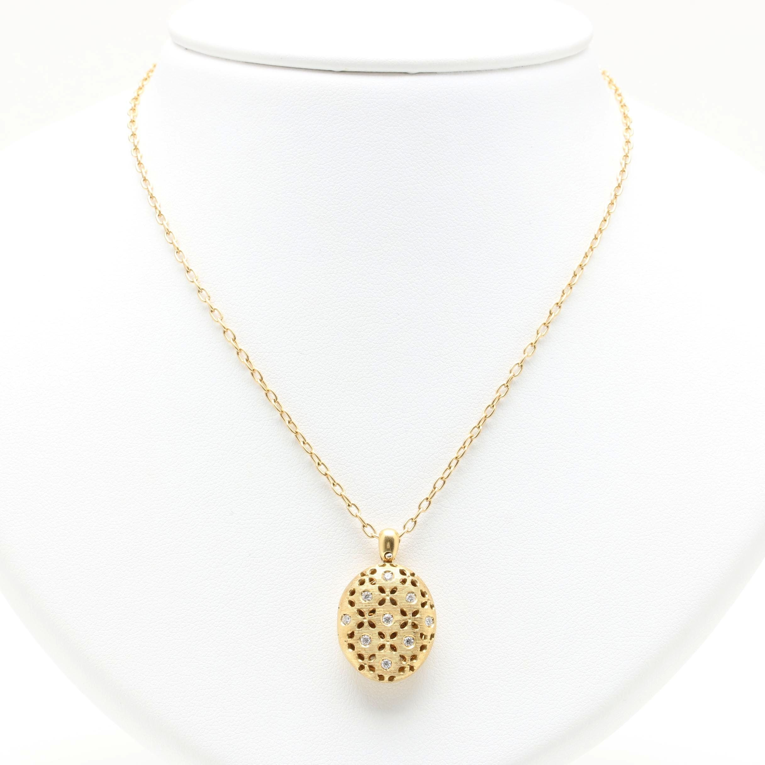 Roberto Coin 18K Yellow Gold Diamond and Ruby Locket Necklace