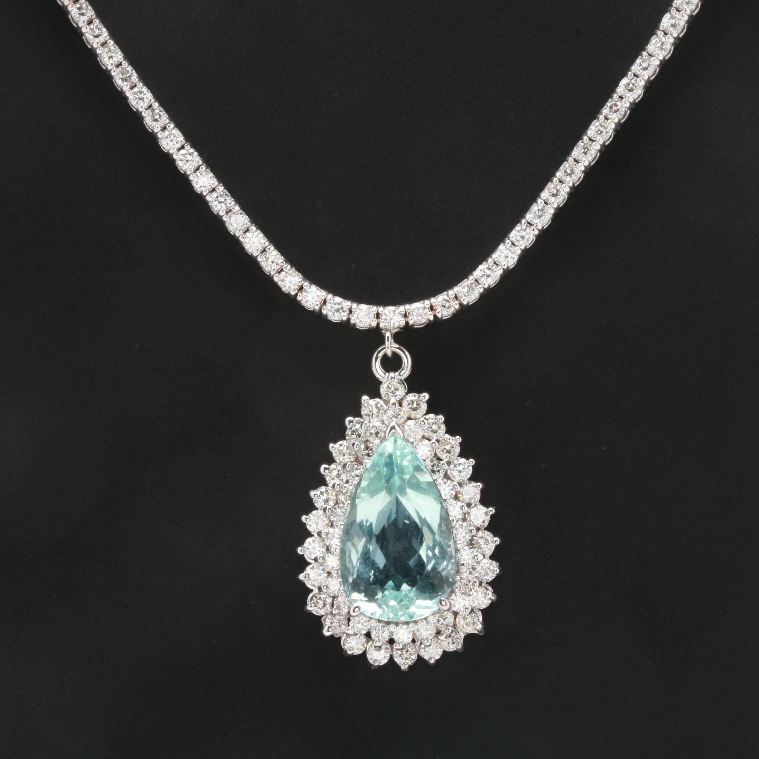 14K and 18K White Gold 6.15 CT Aquamarine and 4.28 CTW Diamond Pendant Necklace