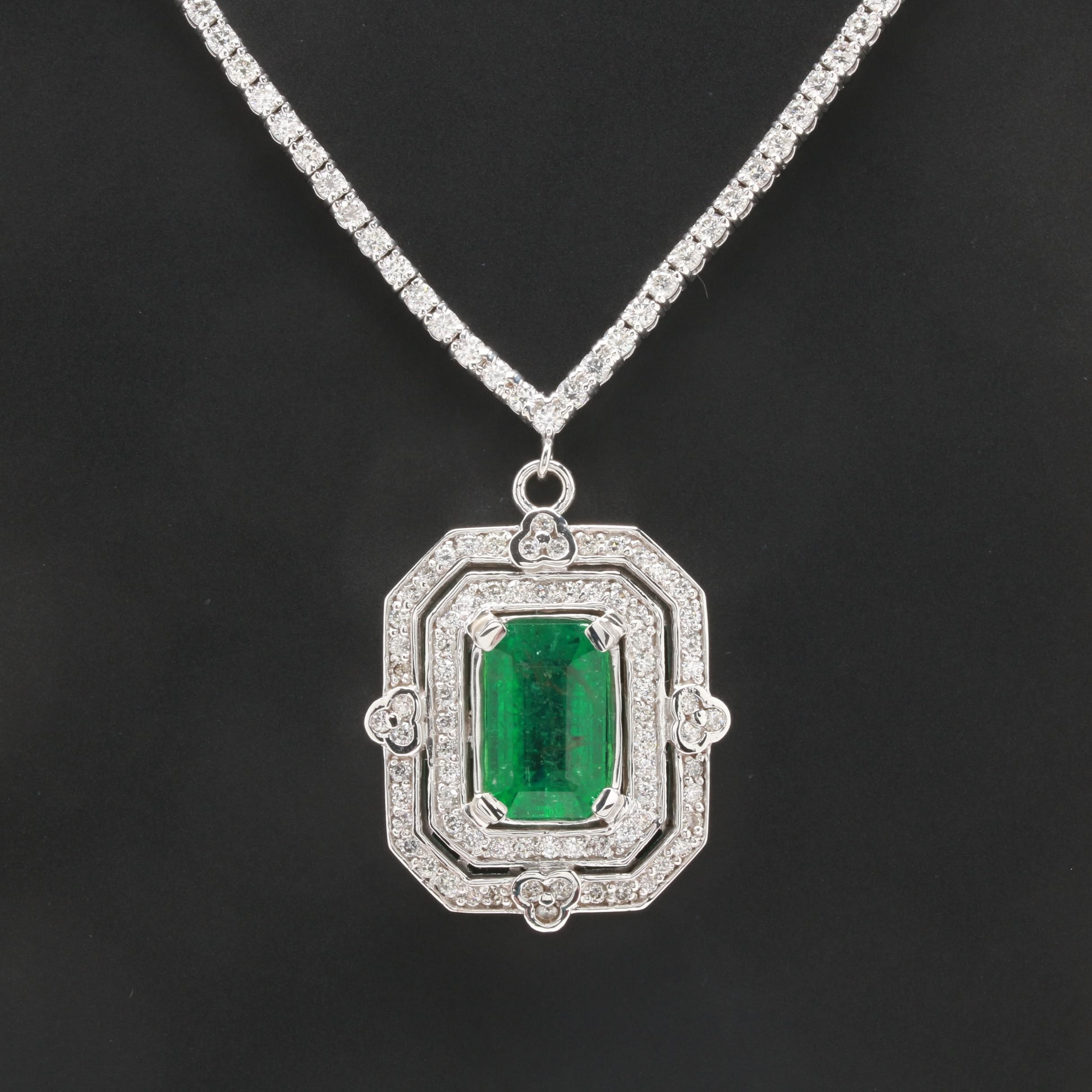 14K and 18K White Gold 4.00 CT Emerald and 3.77 CTW Diamond Pendant Necklace