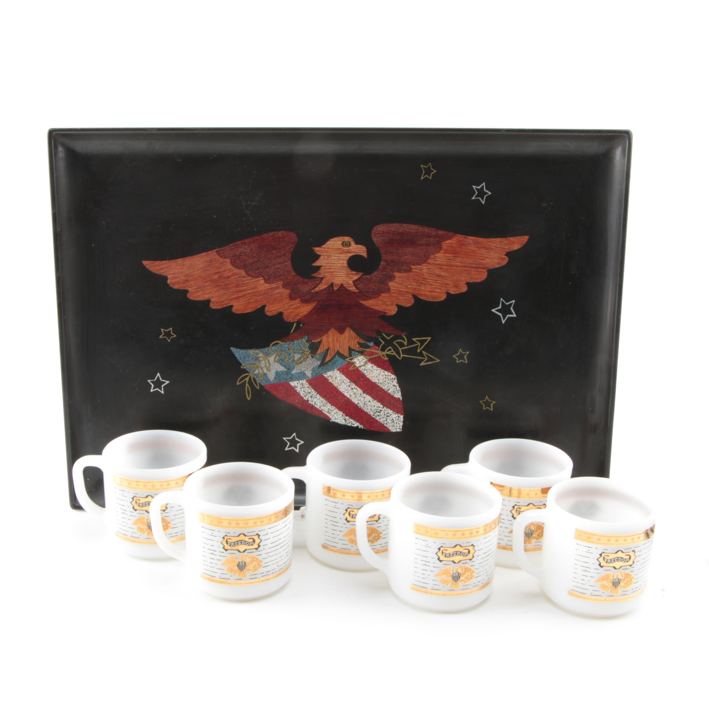American Freedom Themed Tray And Mugs
