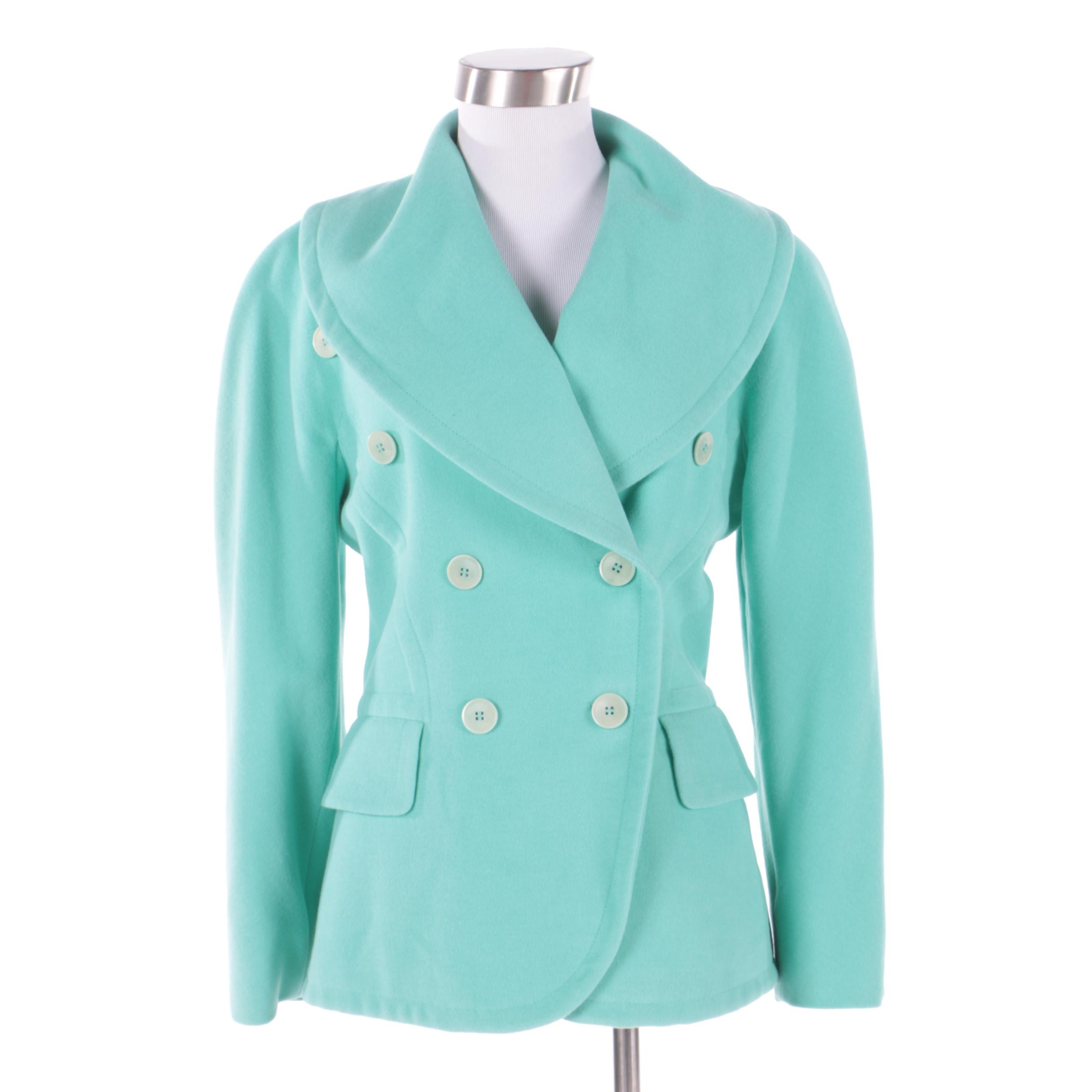 Women's Escada by Margaretha Ley Mint Angora Wool and Cashmere Blend Jacket