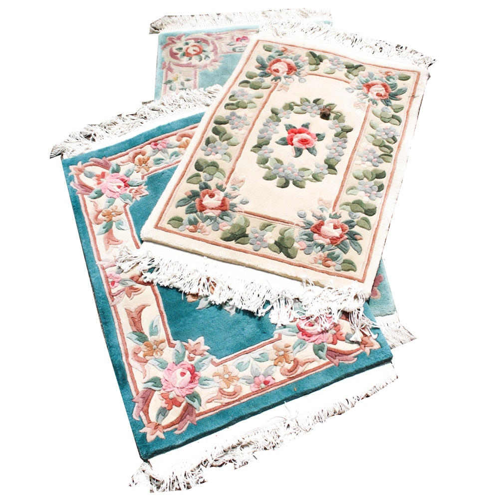 Vintage Hand-Knotted Chinese Accent Rugs