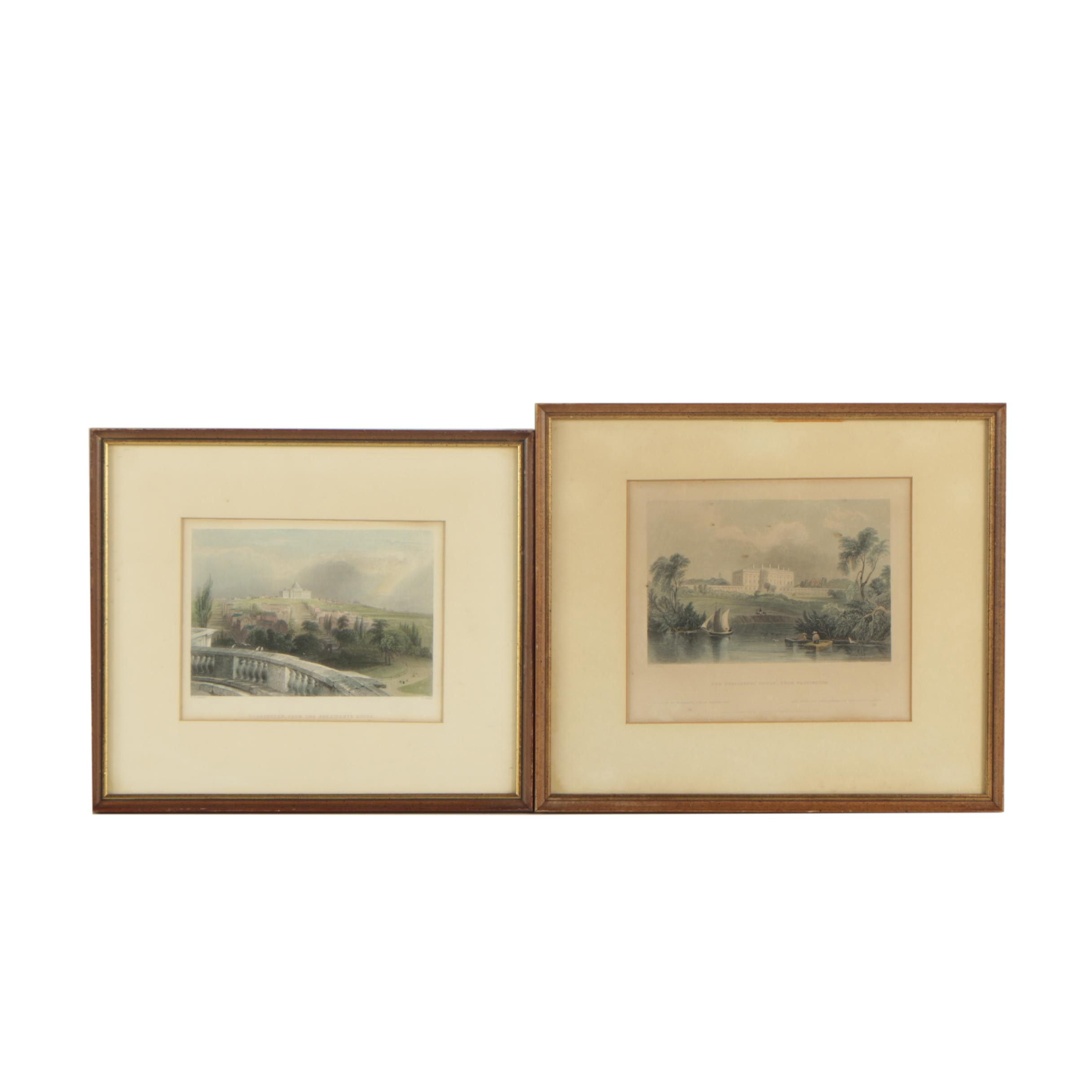 William Henry Bartlett Hand Colored Engravings of Washington DC