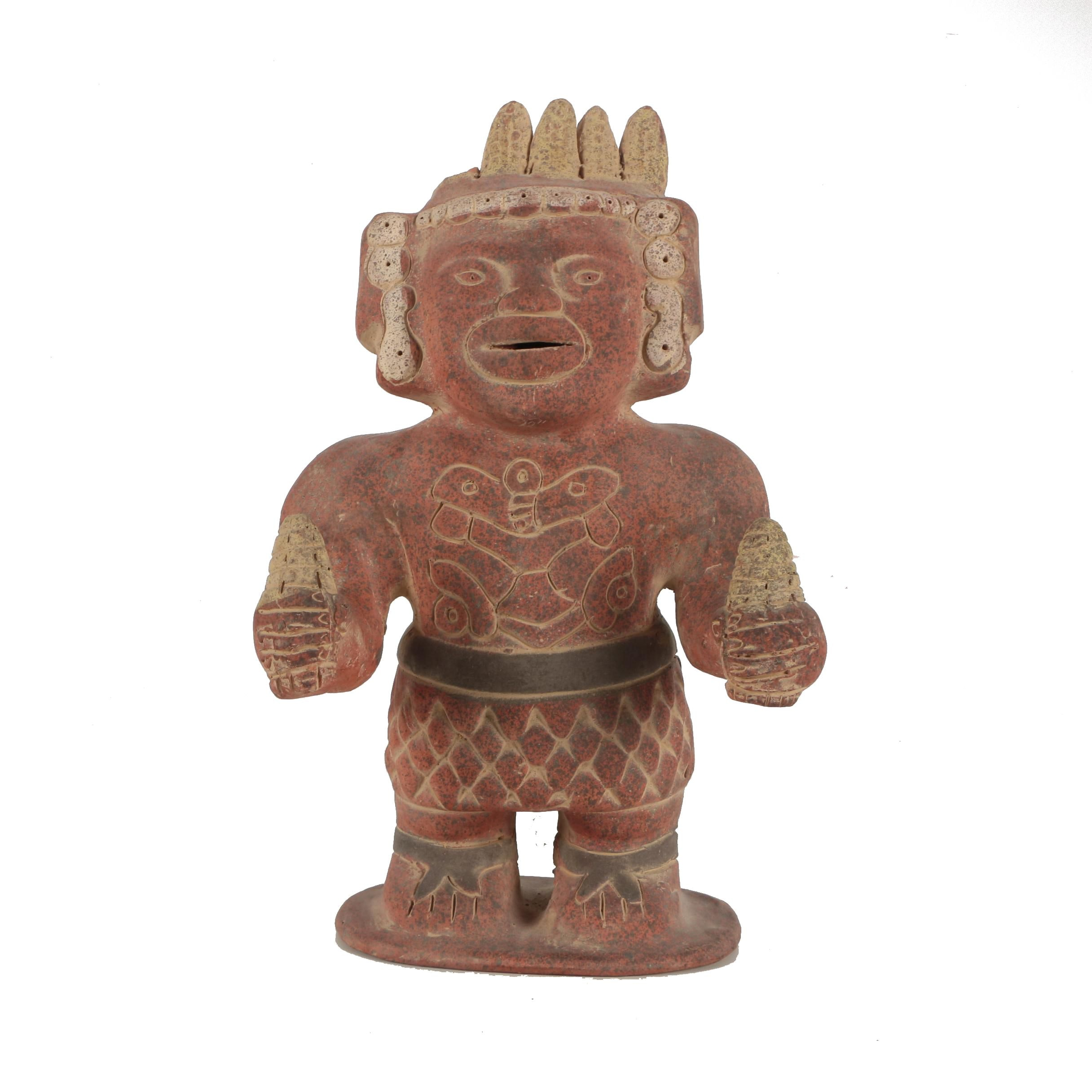Central American-Style Ceramic Warrior Sculpture