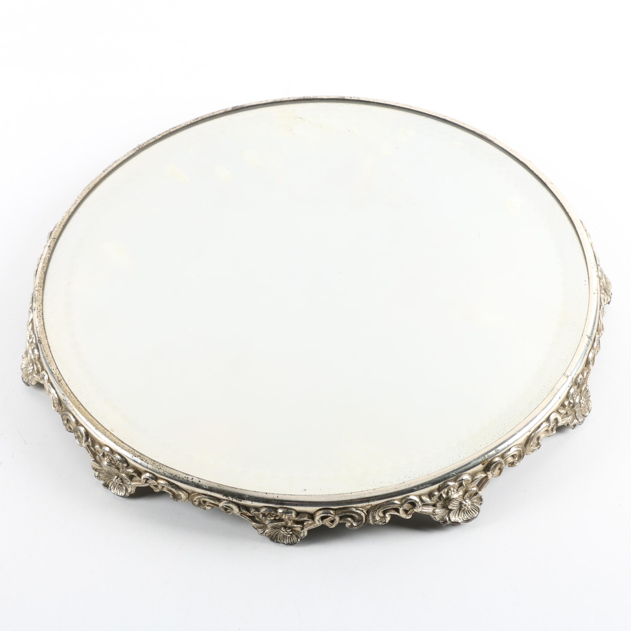 Mirrored Vanity Tray with Floral Accents