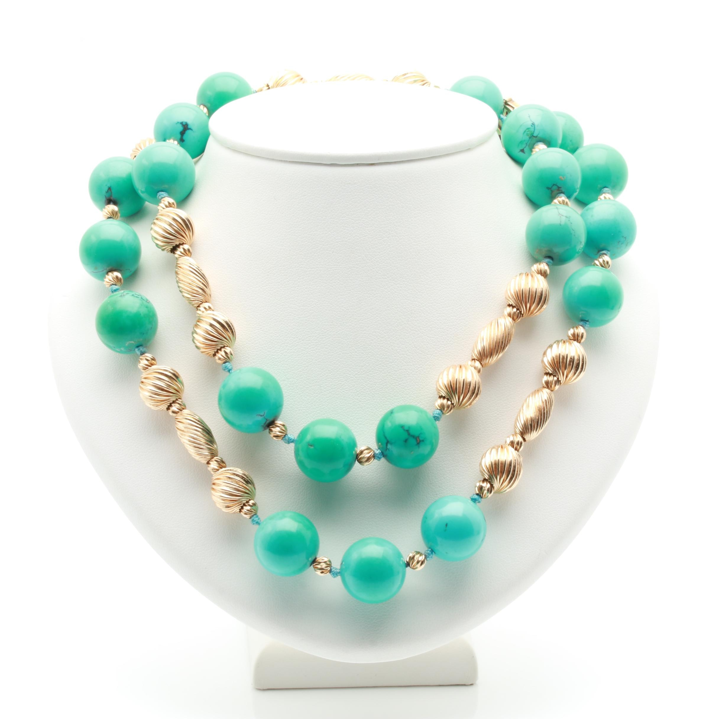 14K Yellow Gold Stabilized Turquoise Beaded Necklace