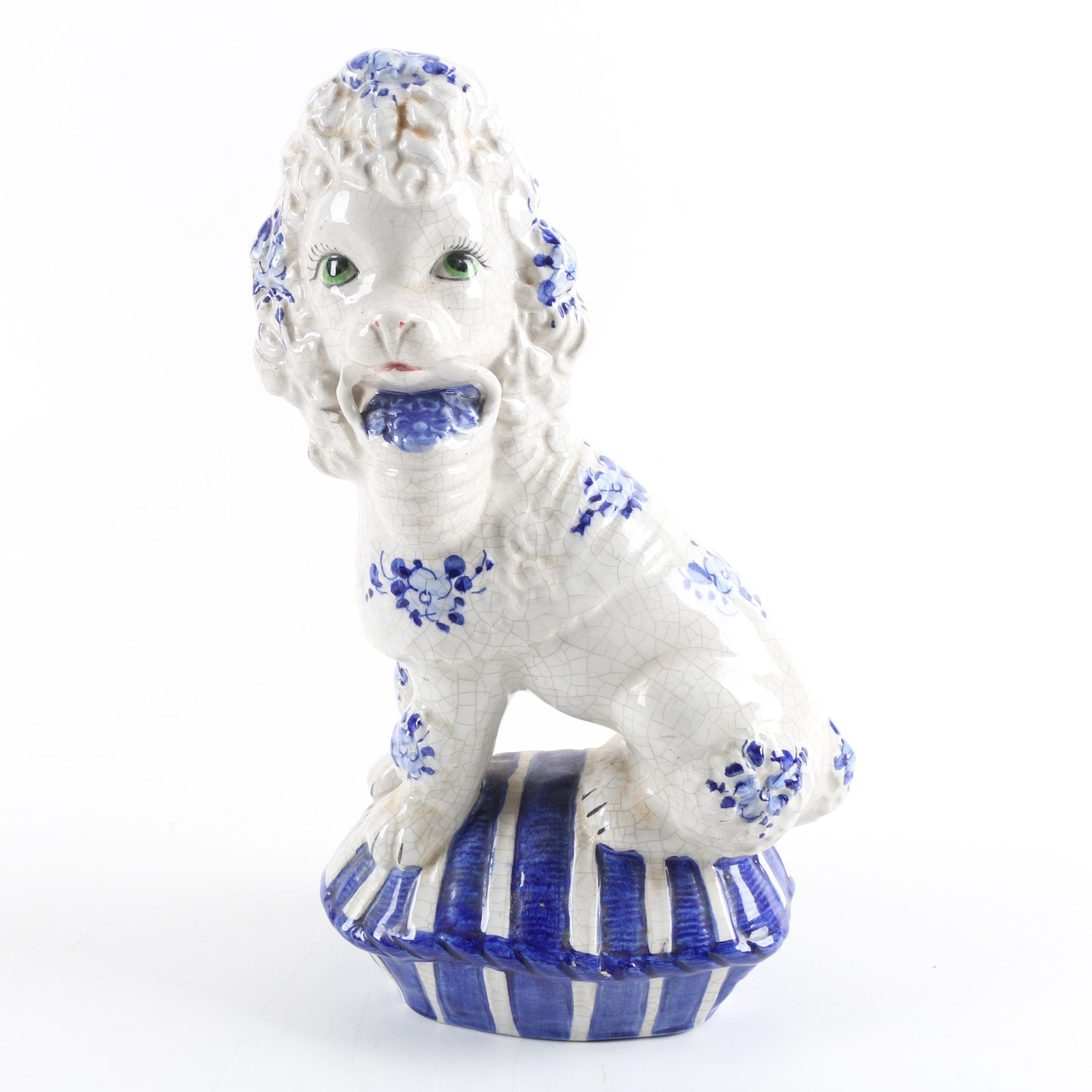 Italian Blue and White Ceramic Dog Figurine
