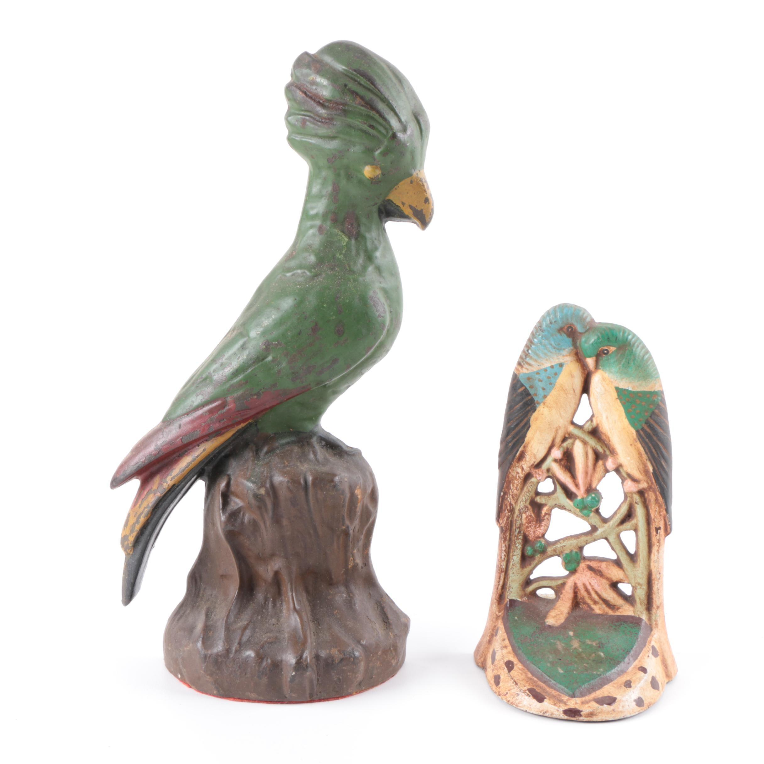 Antique Cast Iron Parakeet and Kingfisher Door Stops