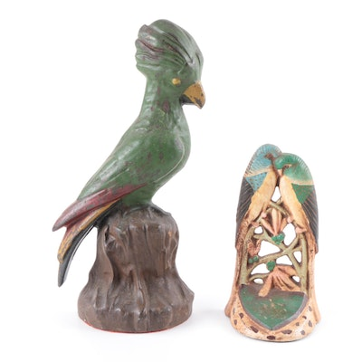 Antique Cast Iron Parakeet and Kingfisher Door Stops