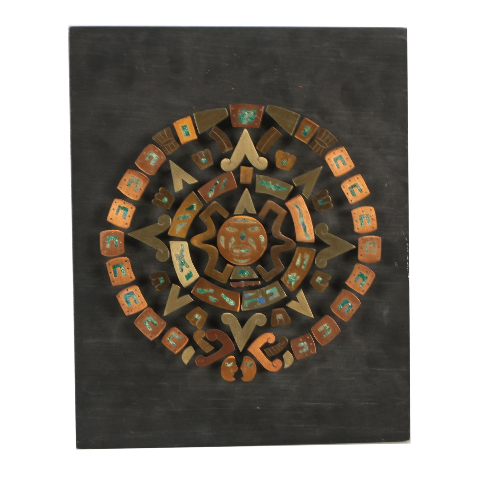 Aztec Style Metal and Composite Stone Calendar