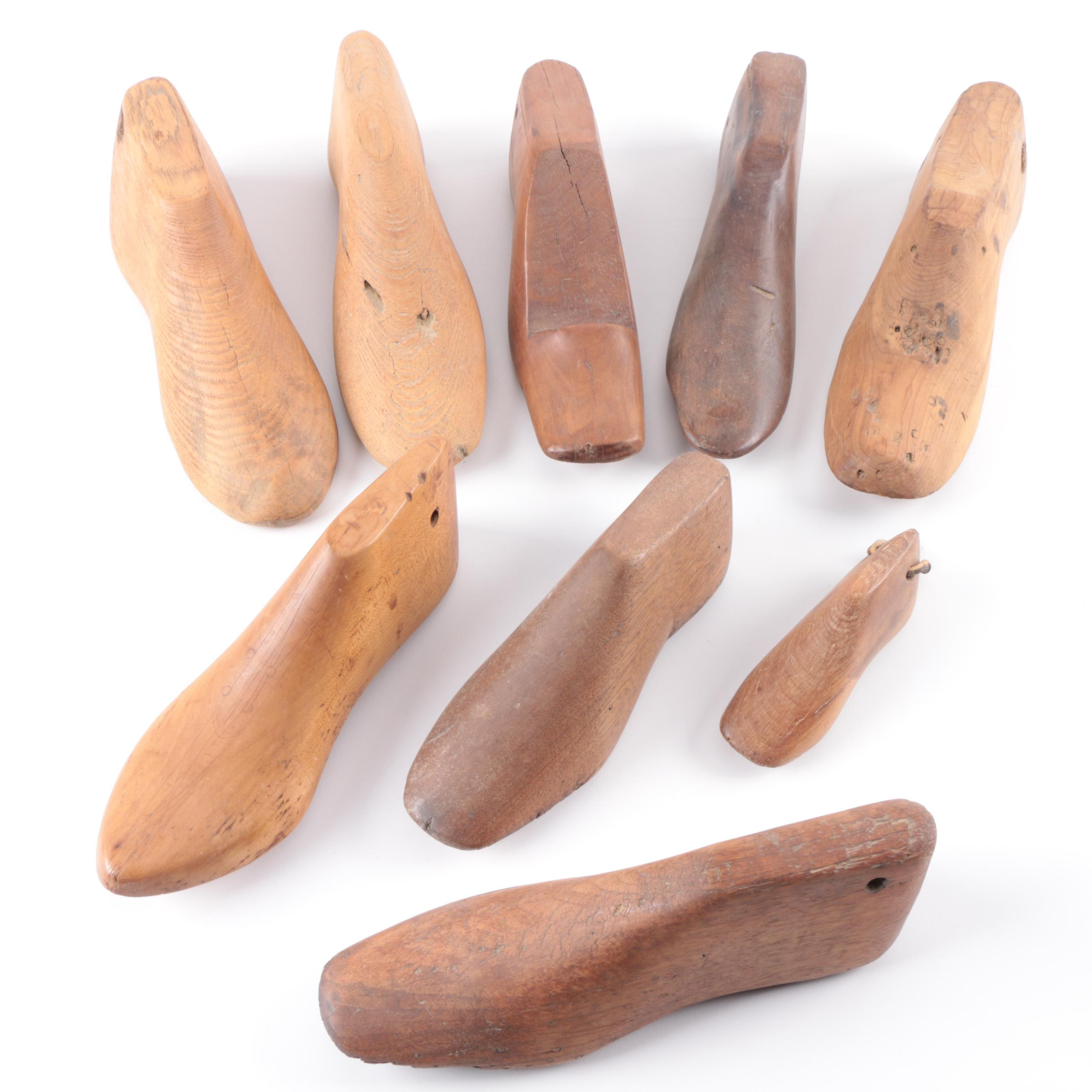 Collection of Nine Wooden Shoe Forms
