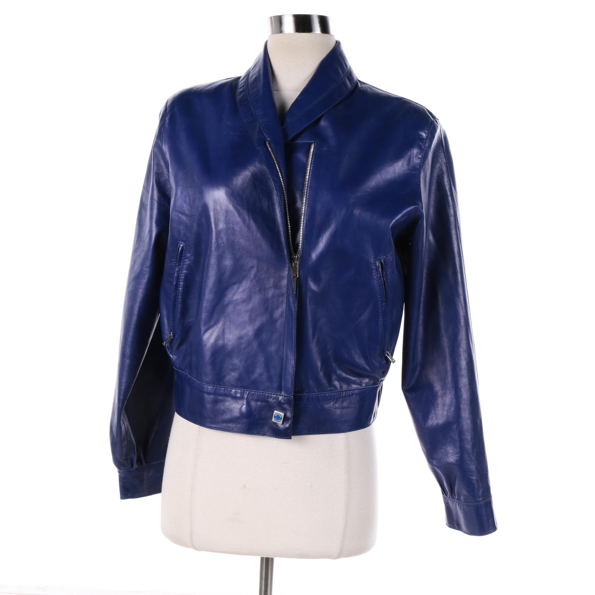 Women's Vintage Bottega Veneta Blue Leather Jacket