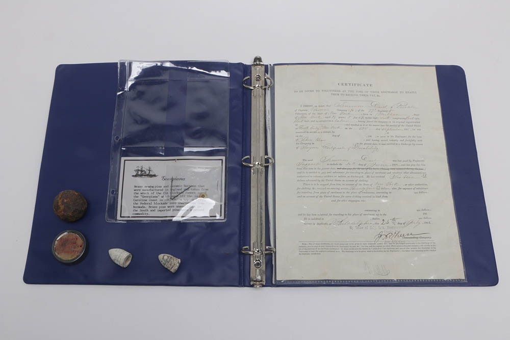 """SS Georgian"" Artifacts, Minié balls  and 1862 Discharge Document"