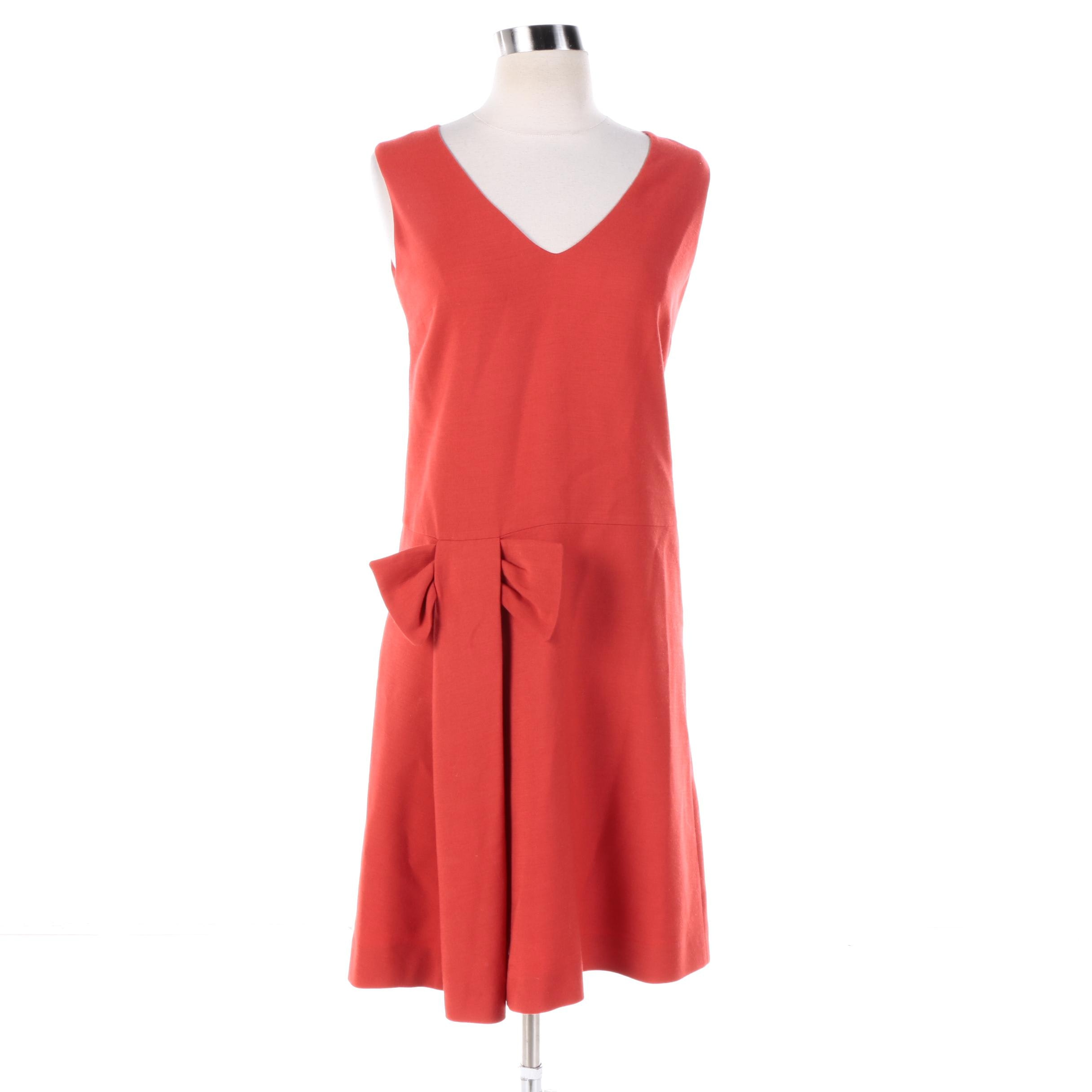 Women's RED Valentino Wool Blend Sleeveless Sheath Dress