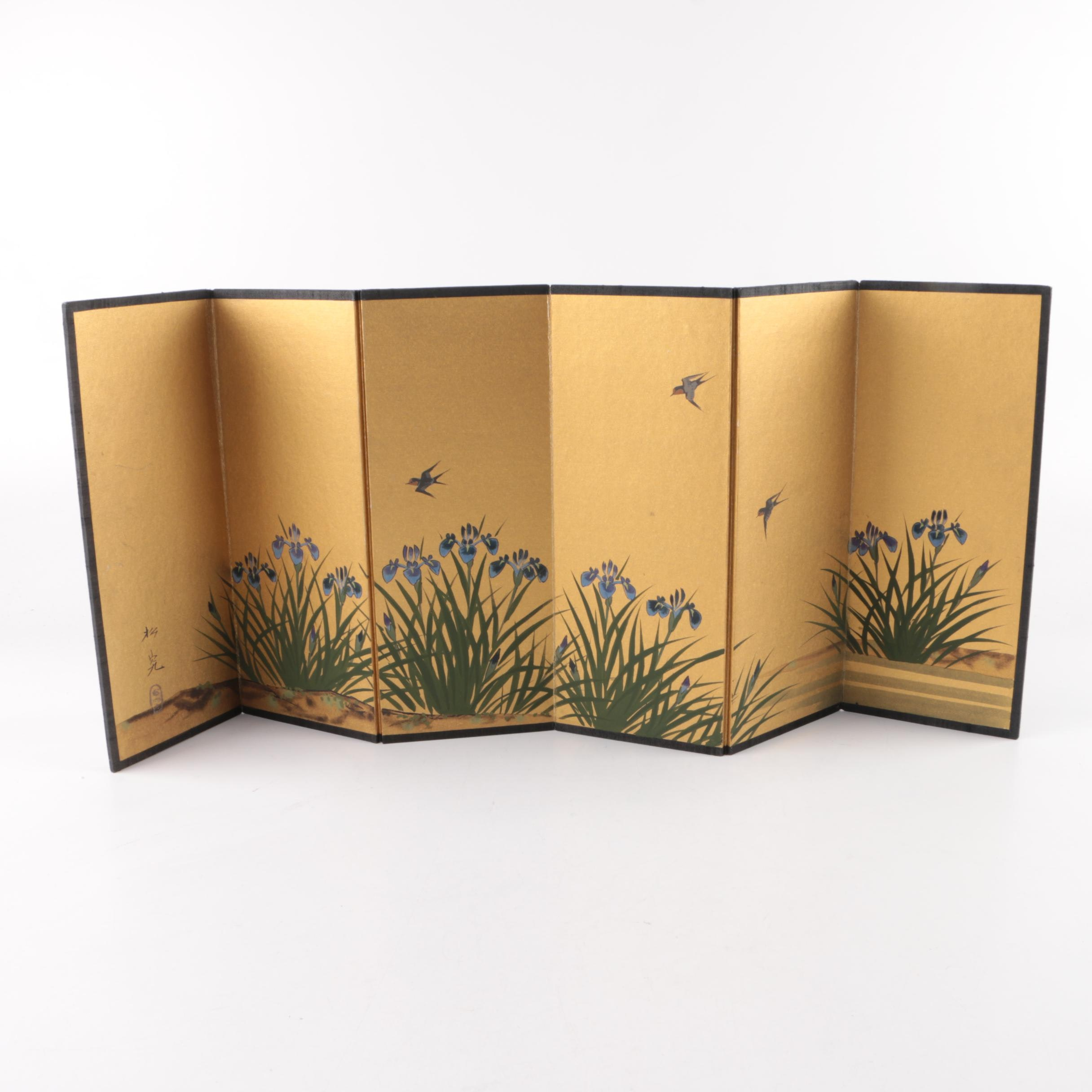 Japanese Hand-Painted Folding Table Screen