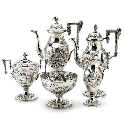 "Circa 1900 S. Kirk & Son Co. ""Landscape"" Sterling Silver Tea and Coffee Service"