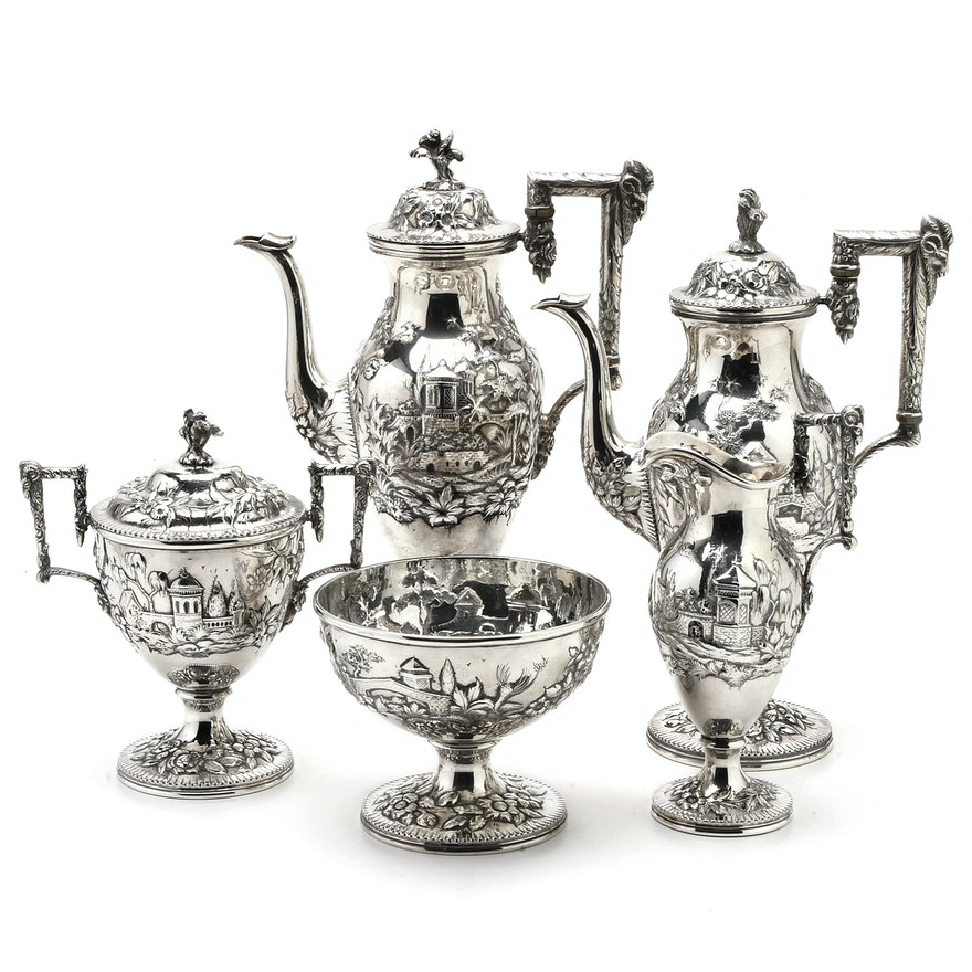"Circa 1900 S. Kirk & Son Co. ""Landscape"" Sterling Silver Tea and Coffee Service"