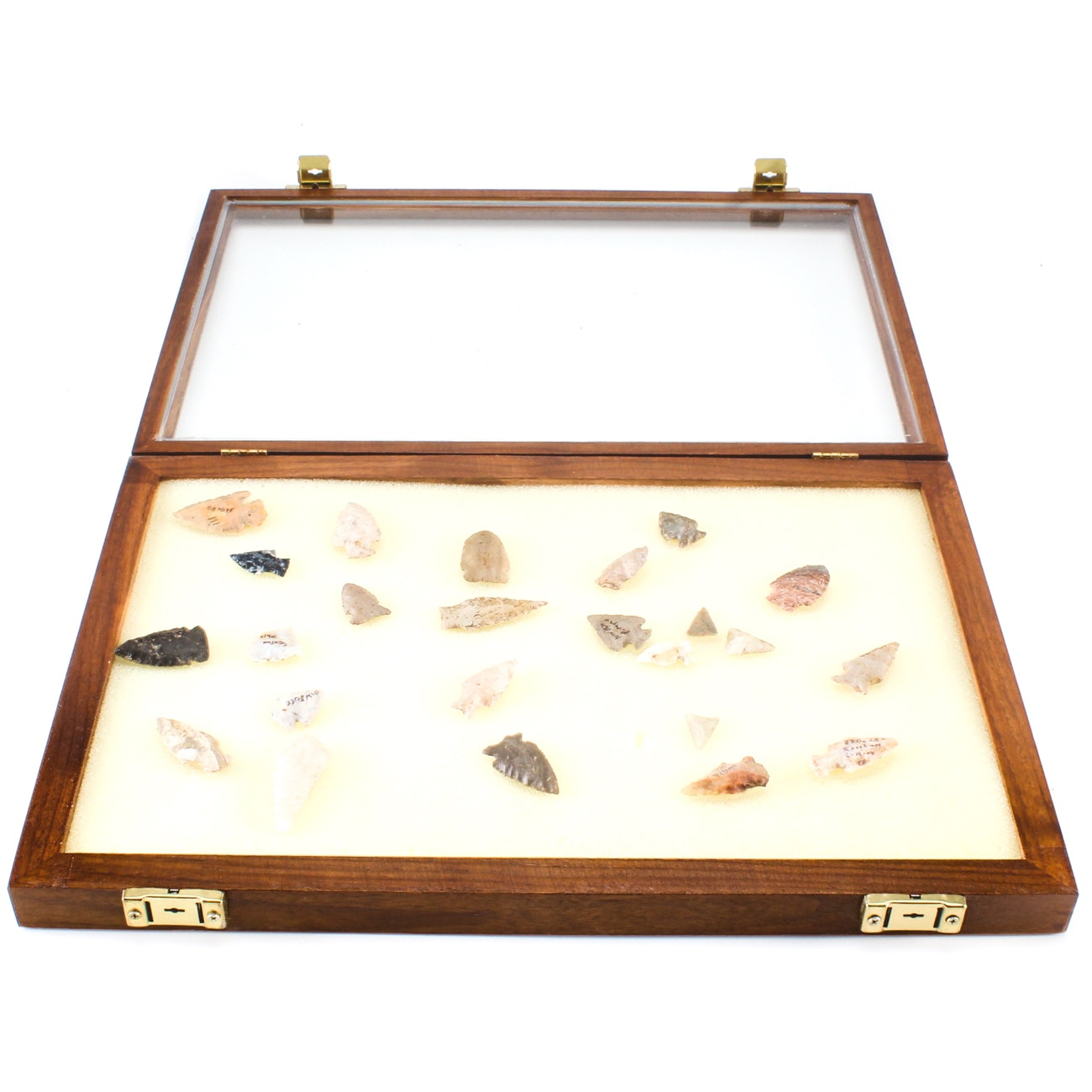 Arrow Heads and Spear Heads with Display Case