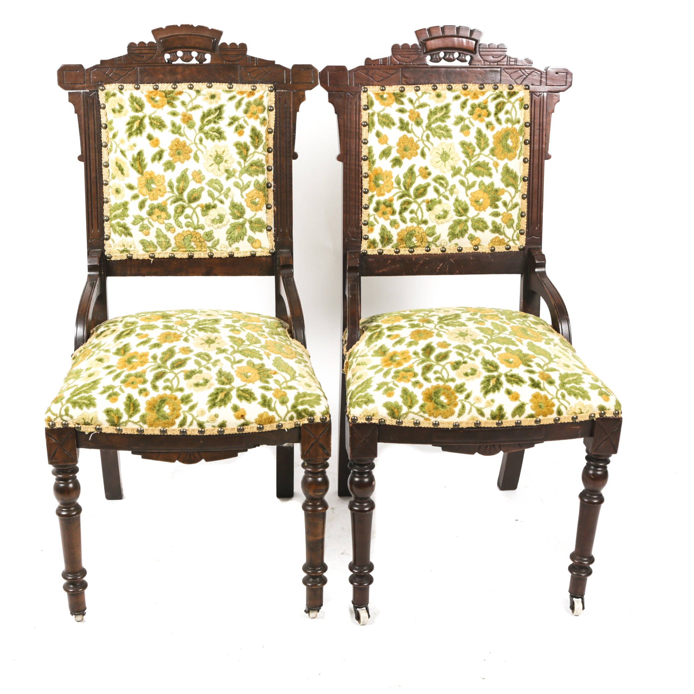 Floral Upholstered Eastlake Chairs