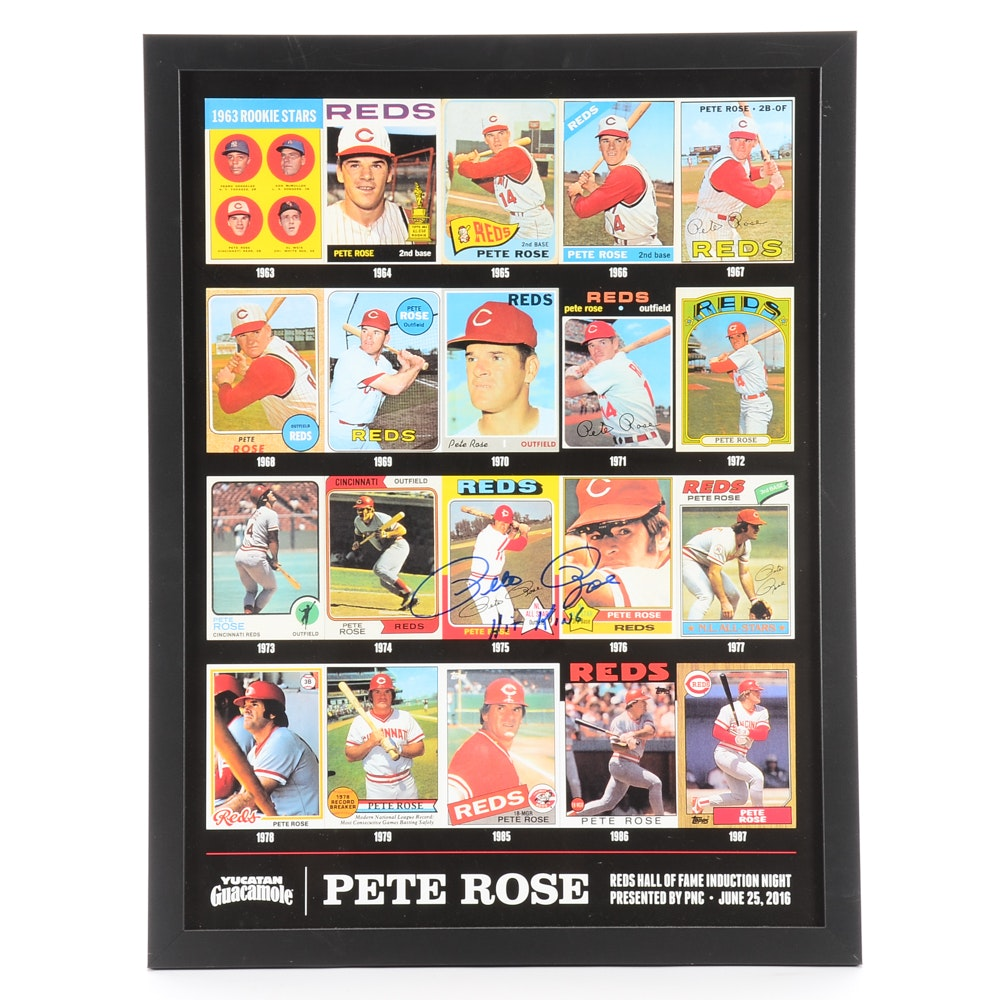 "2016 Pete Rose Signed ""Reds Hall Of Fame Induction"" Framed Card Display"