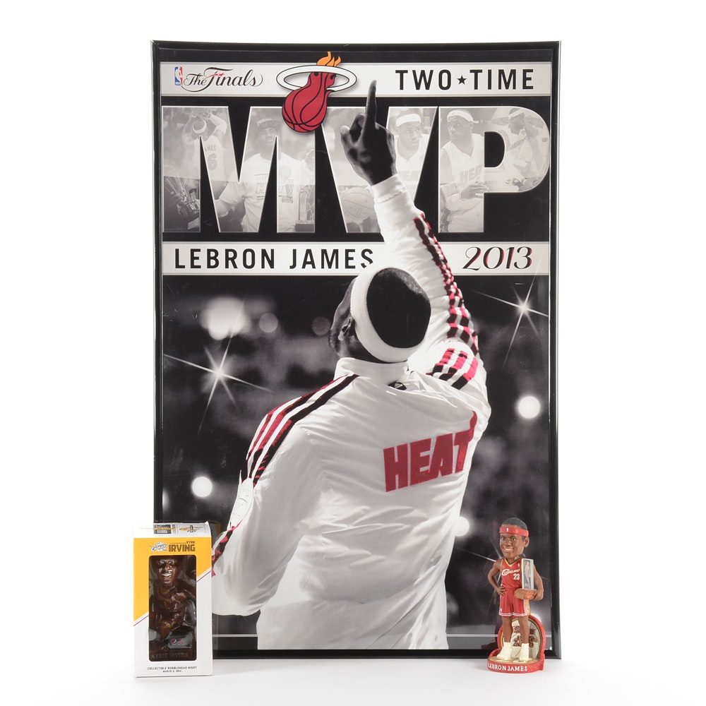 Lebron James and Cleveland Cavaliers NBA Poster and Bobblehead Dolls