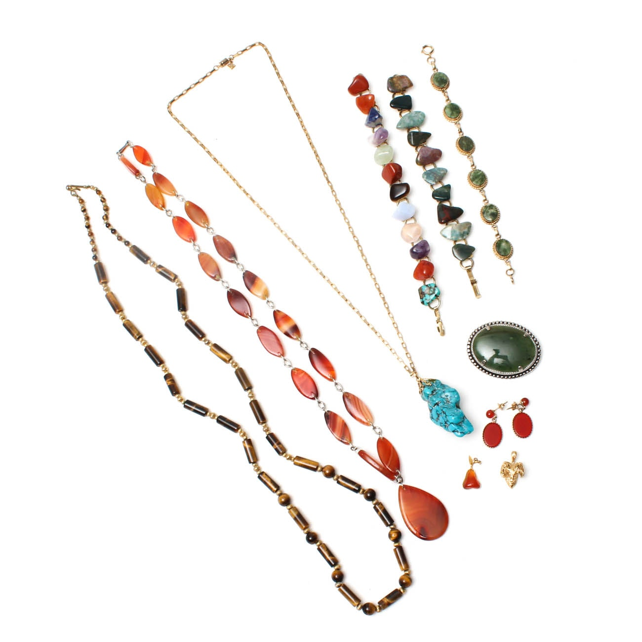 Selection of Costume Jewelry with Gemstones