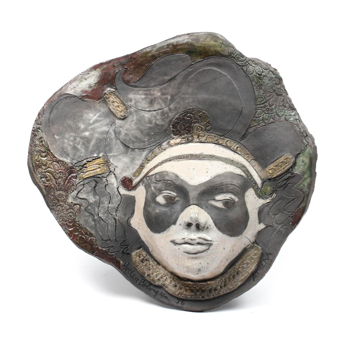 """Raku Pottery Mask """"Athena"""" by Donna Hollen Bolmgren"""