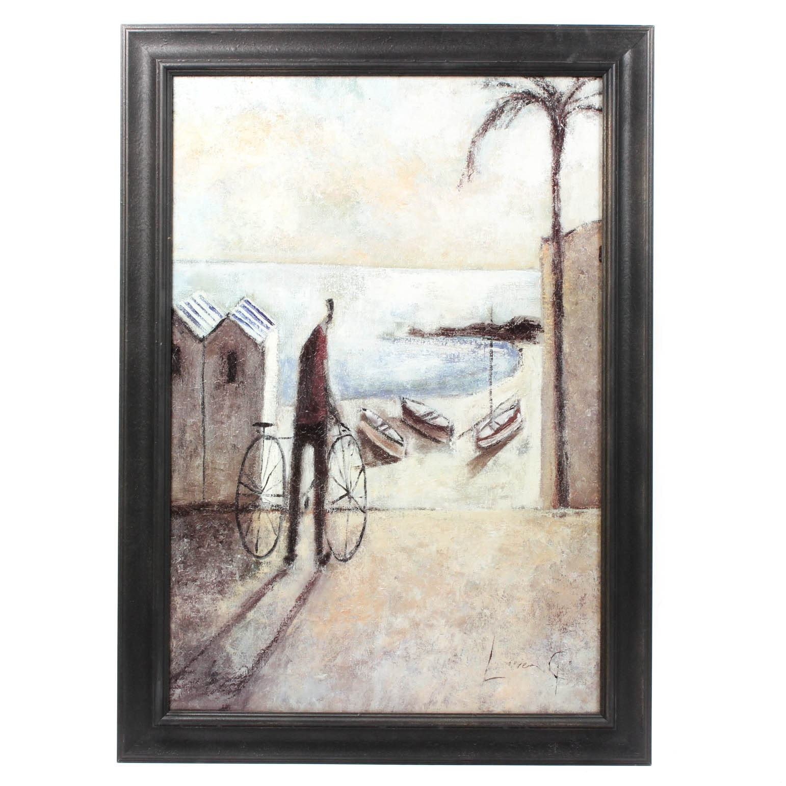 Embellished Offset Lithograph Seaside Scene