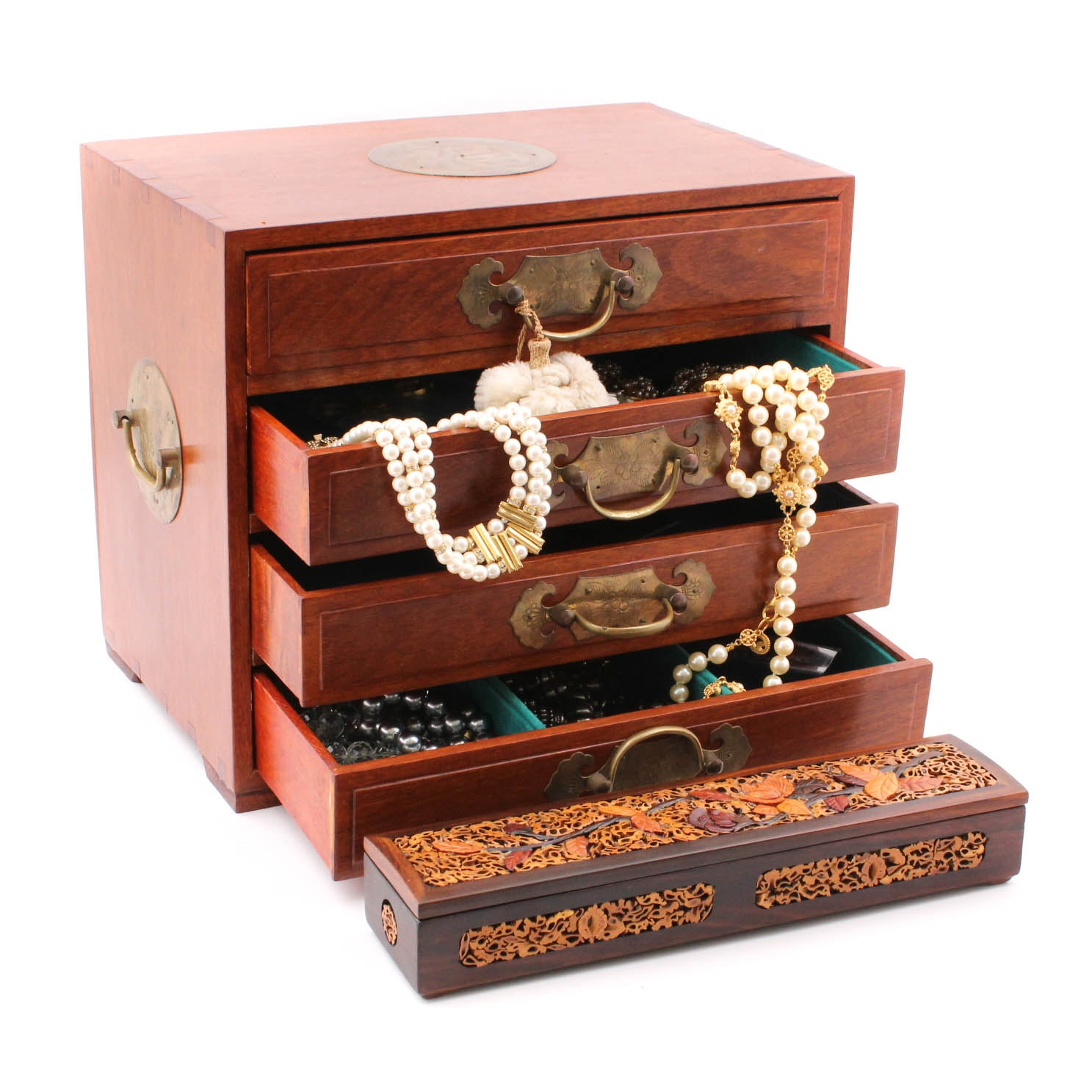 East Asian Wooden Jewelry Boxes and Costume Jewelry