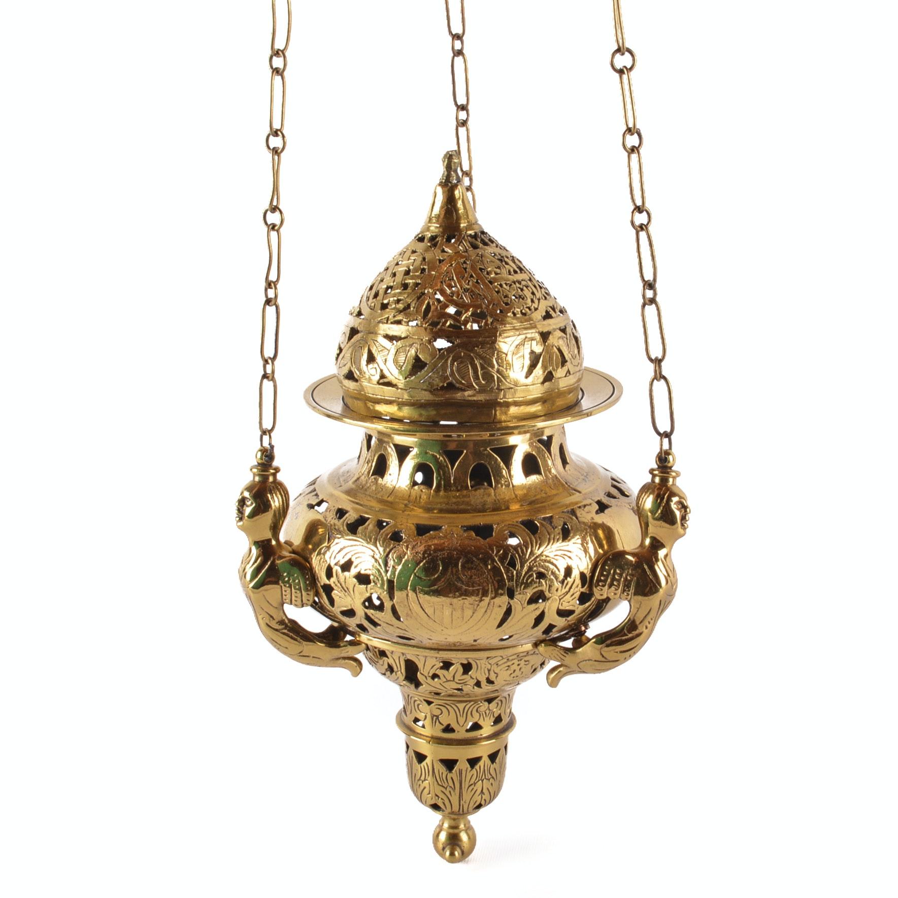 "Vintage to Antique Synagogue ""Eternal Light"" Brass Hanging Fixture"