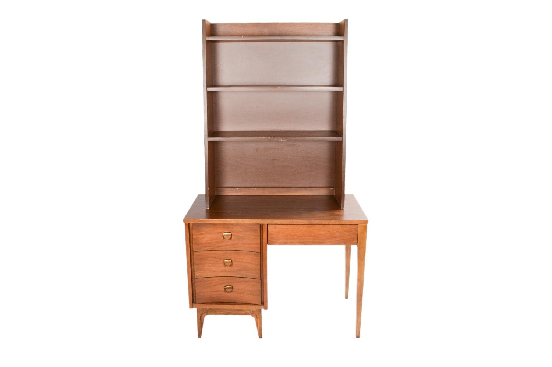 Mid Century Modern Walnut Desk with Hutch
