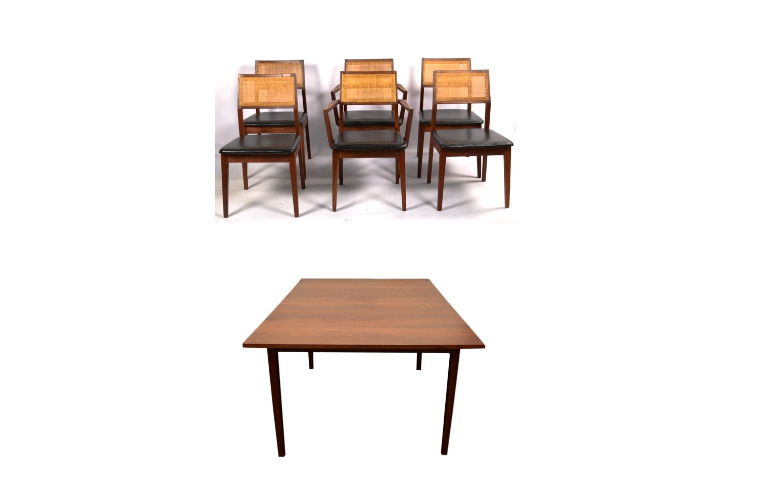 Mid Century Modern Walnut Dining Table with Dining Chairs by Founders Furniture