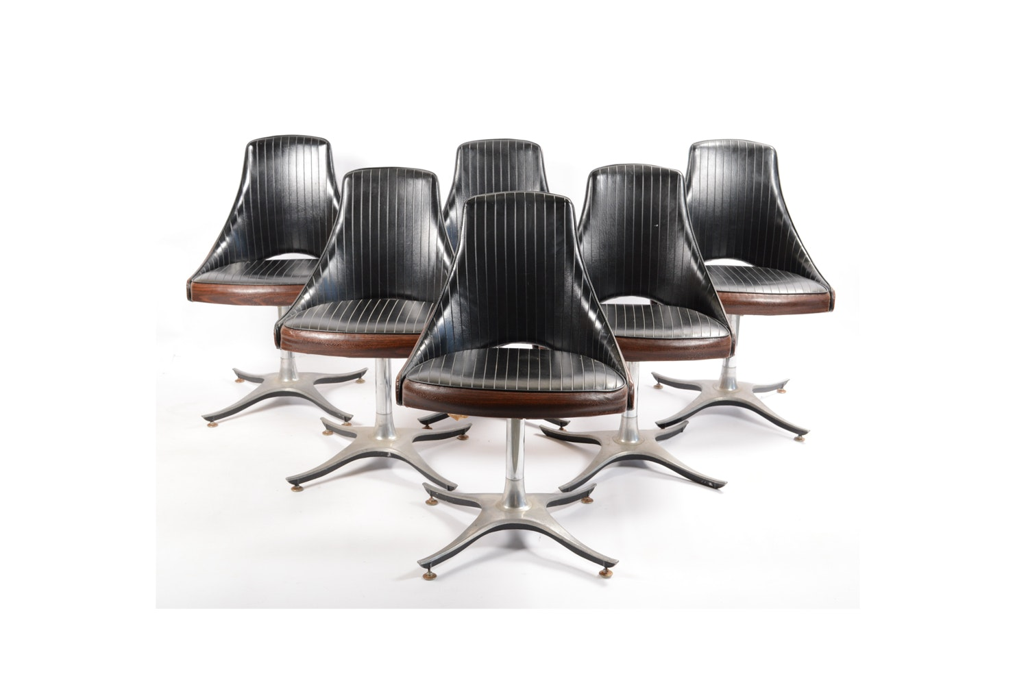 Six Mid Century Modern Swivel Dining Chairs by Roper Corporation