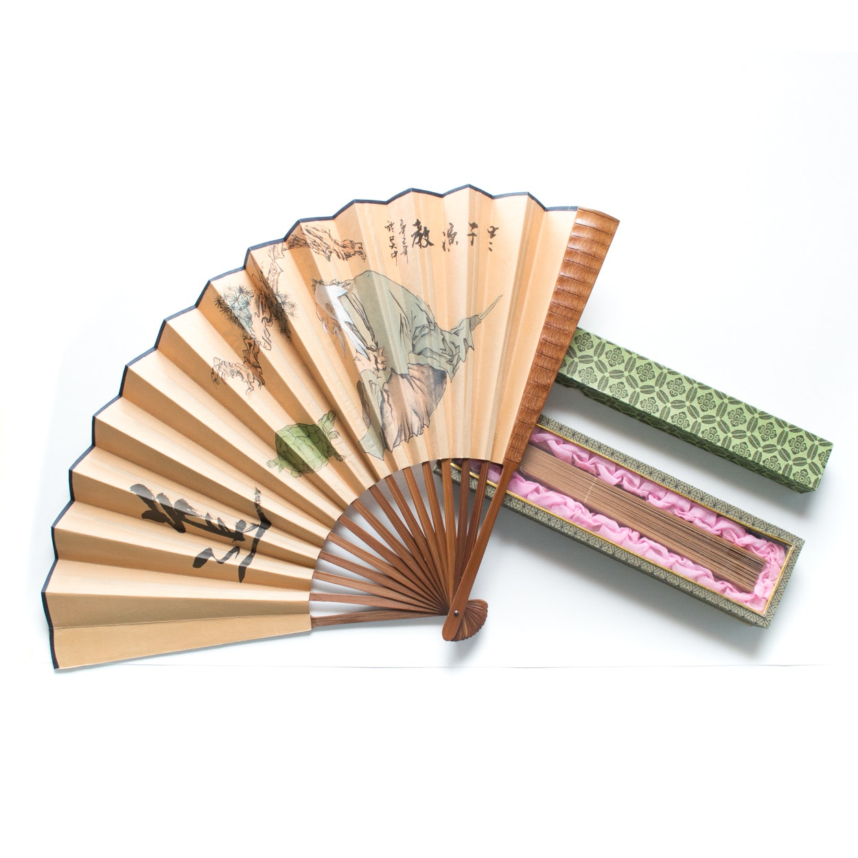 Pairing of a Hand Painted and a Sandalwood Fan