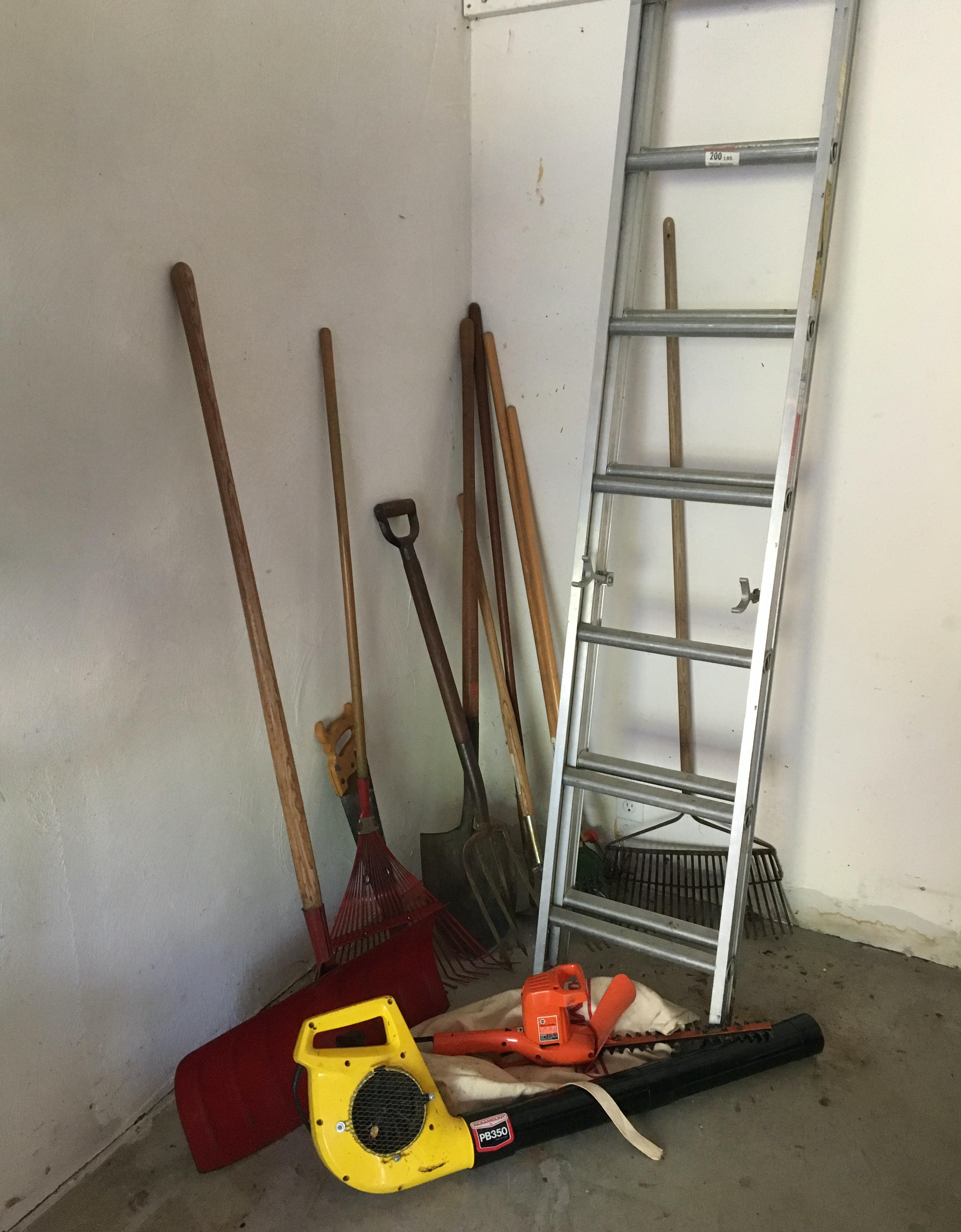 Assorted Landscaping Tools and Extension Ladder