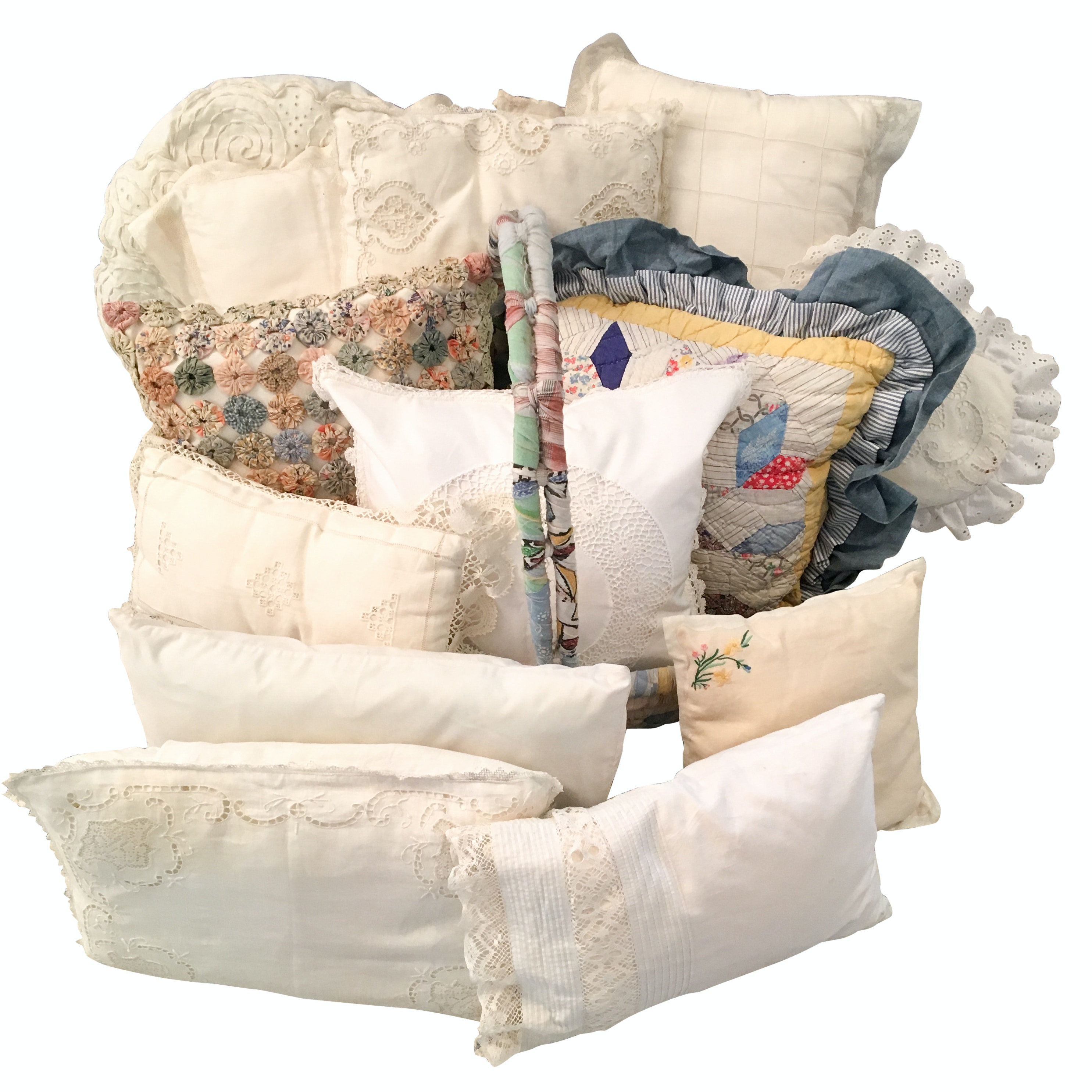 Vintage Linen Throw Pillows and Woven Fabric Basket