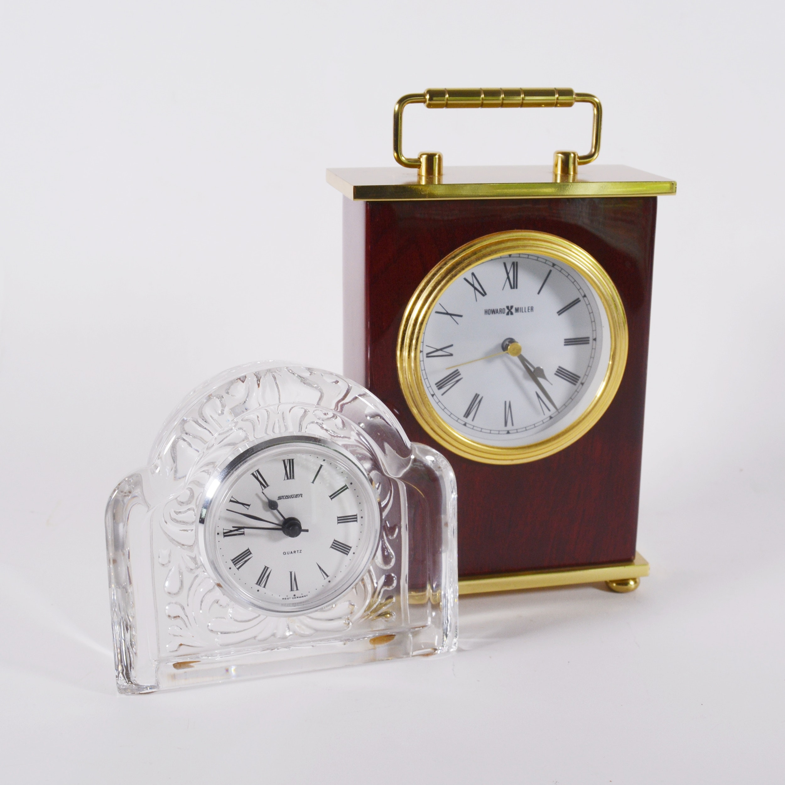 Howard Miller Bracket Clock and Staiger Crystal Desk Clock