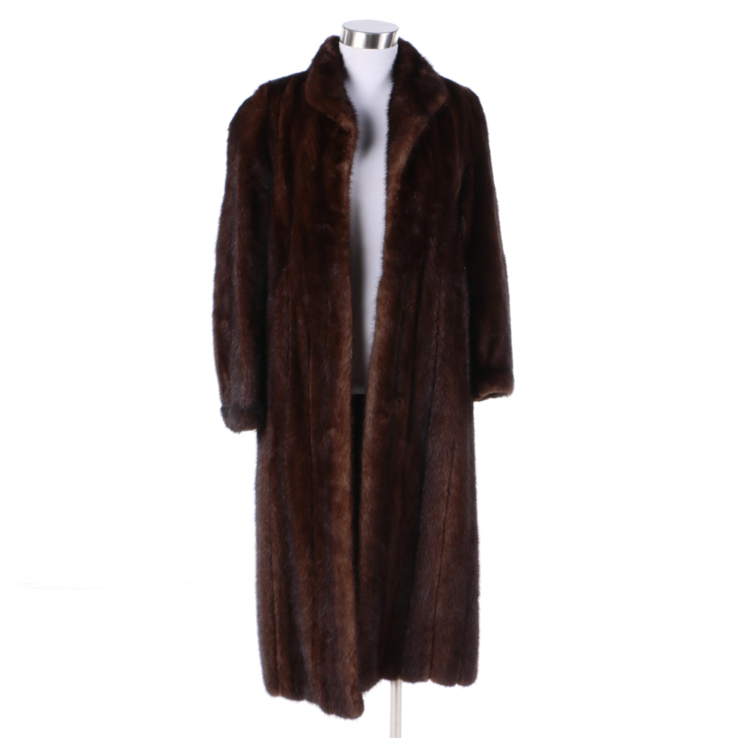 Vintage Dark Mahogany Brown Mink Fur Coat
