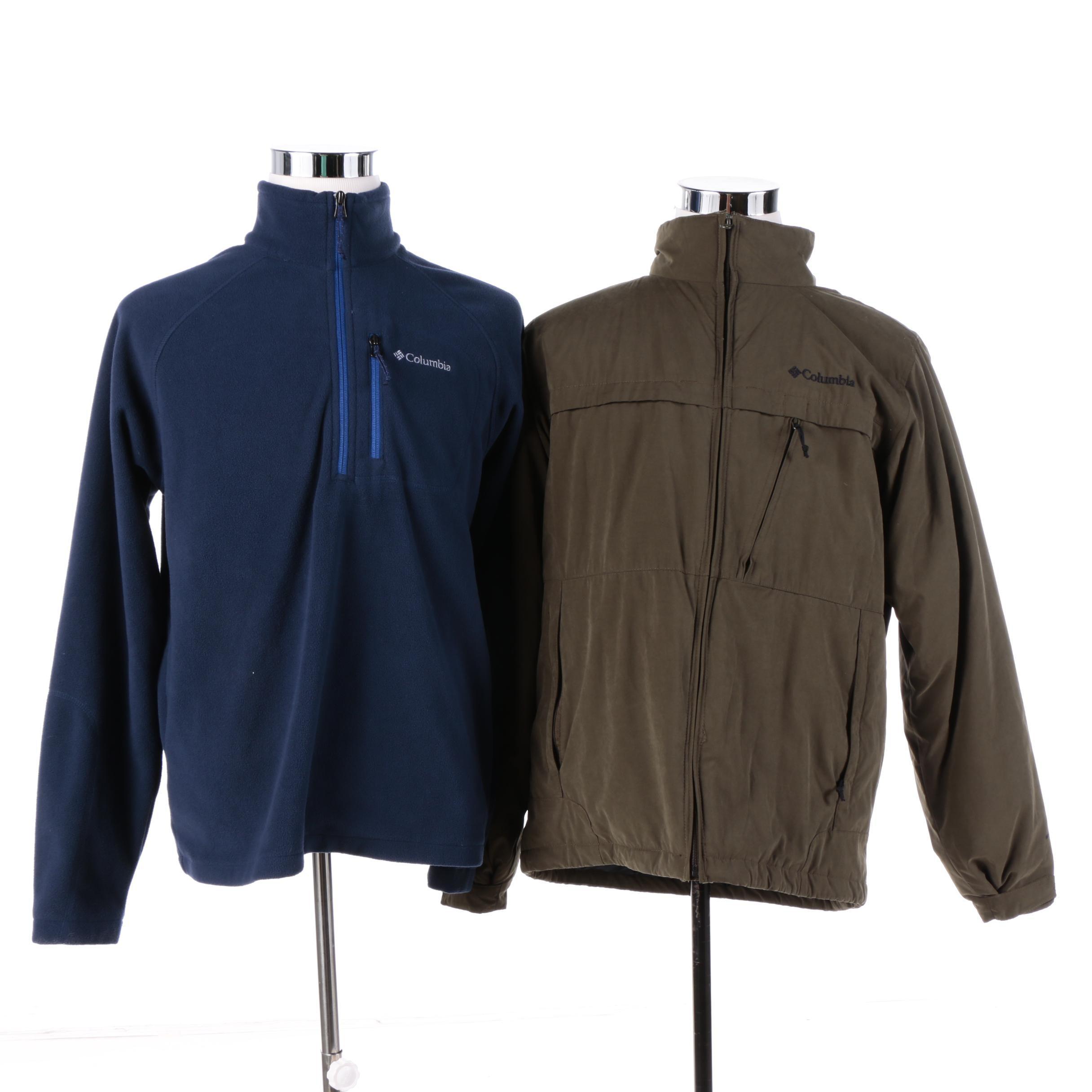 Men's Columbia Fleece Pullover and Cotton Zip Jacket with Fleece Lining