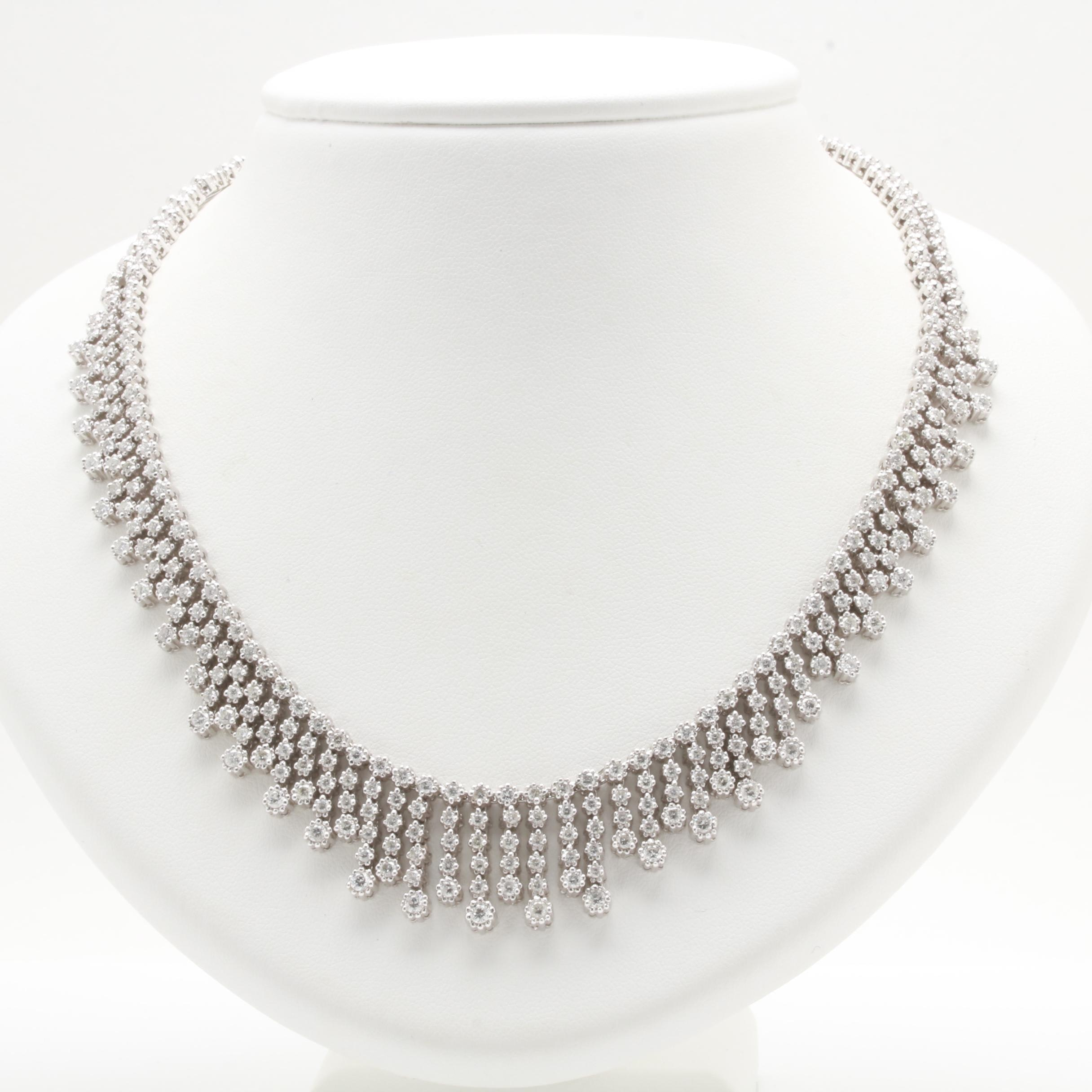 18K White Gold 7.05 CTW Diamond Necklace