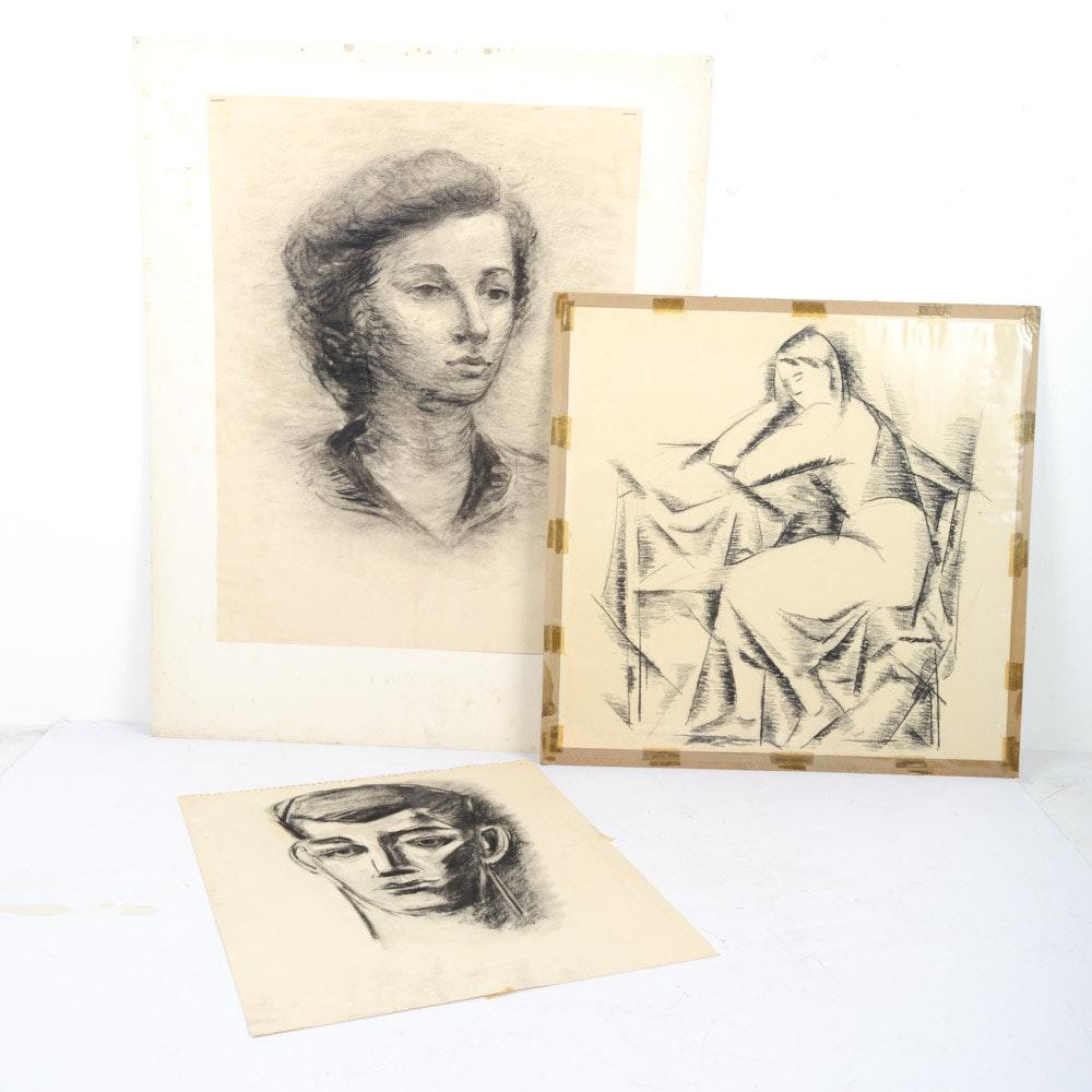 Signed James Yoko Charcoal Sketches