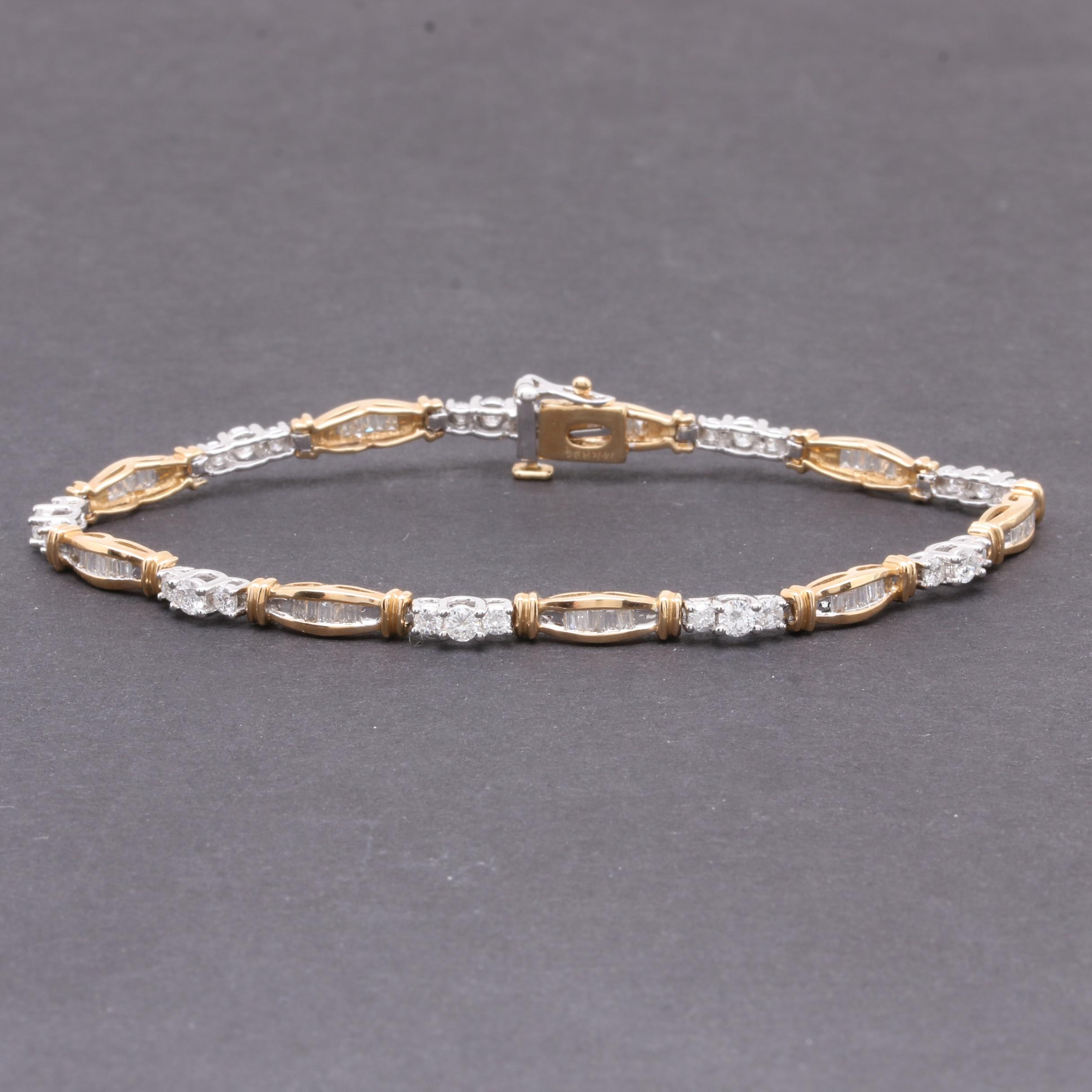 14K White and Yellow Gold 2.25 CTW Diamond Bracelet