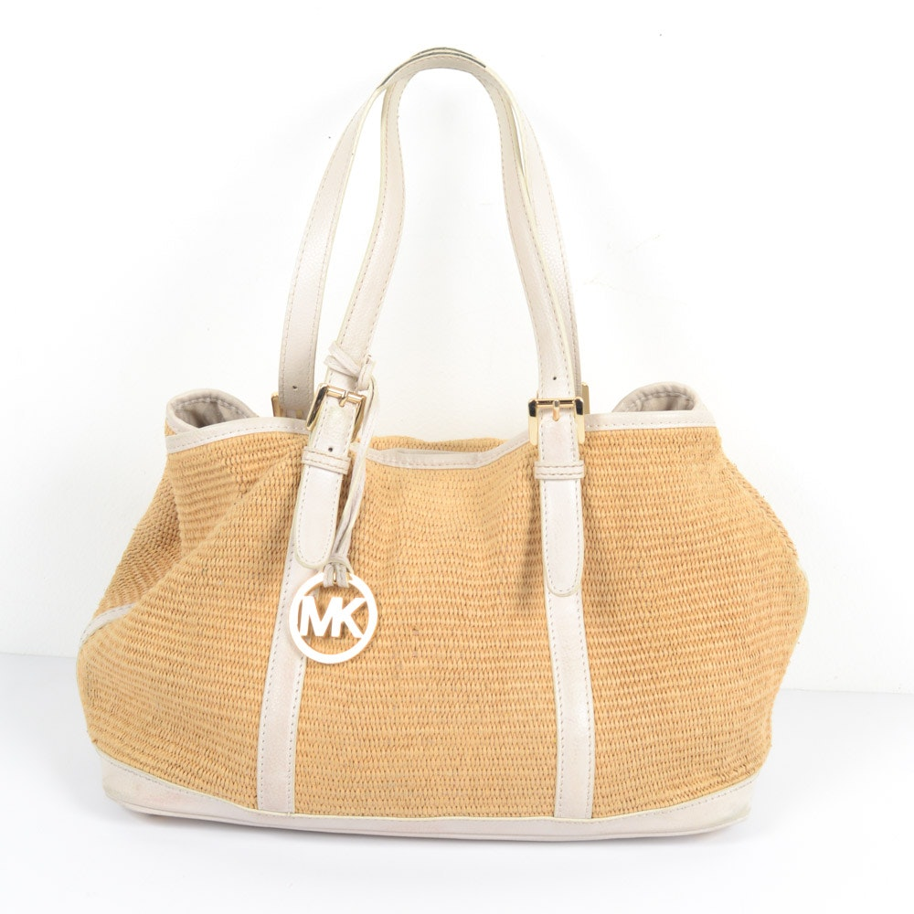 Michael Kors Leather and Straw Handbag