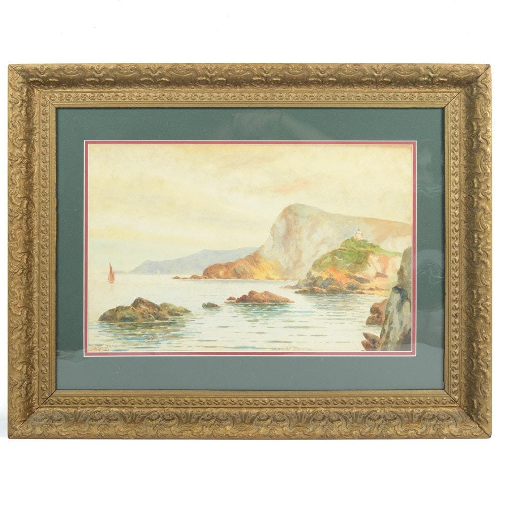 "F.H. Hewett Watercolor Landscape Painting ""Lantern Hill Ilfracombe"""